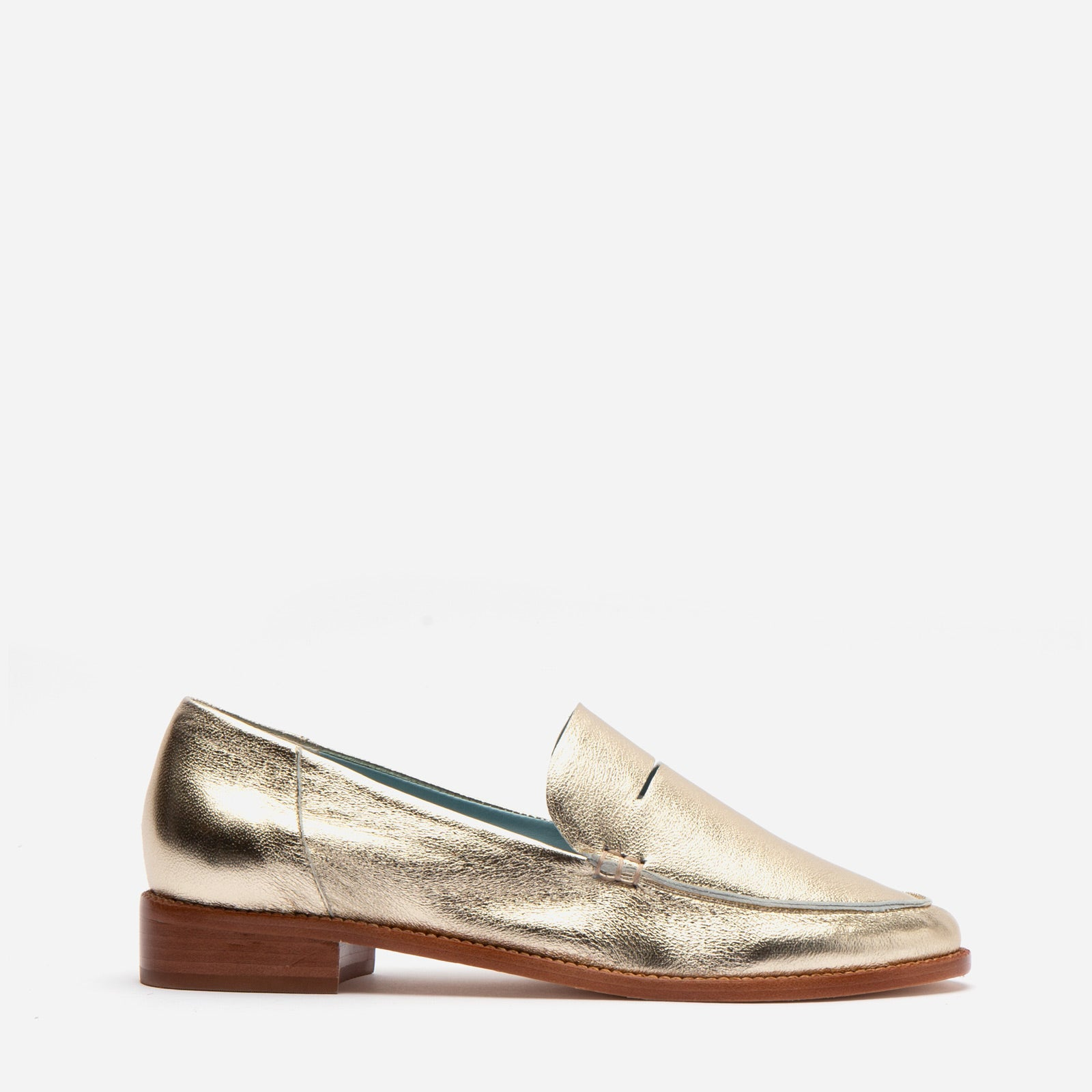 Penny Loafer Metallic Leather Platino - Frances Valentine