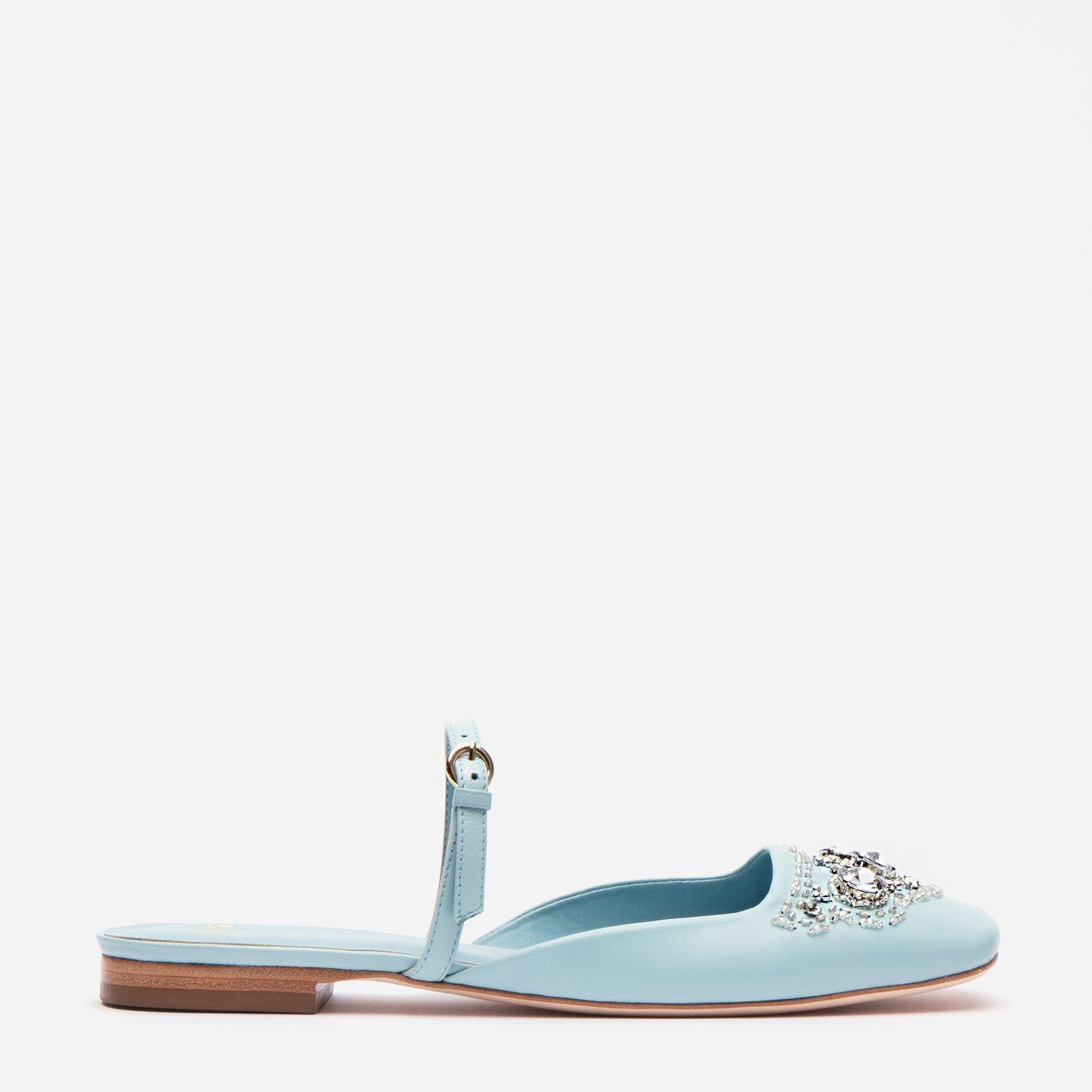 Lynda Mules Jewel Embroidered Light Blue