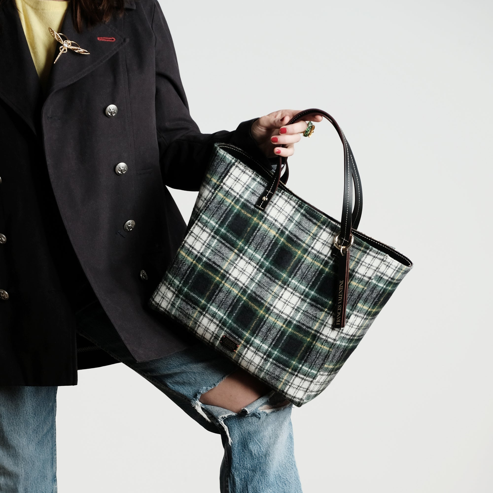 Large Margaret Tote Plaid Wool