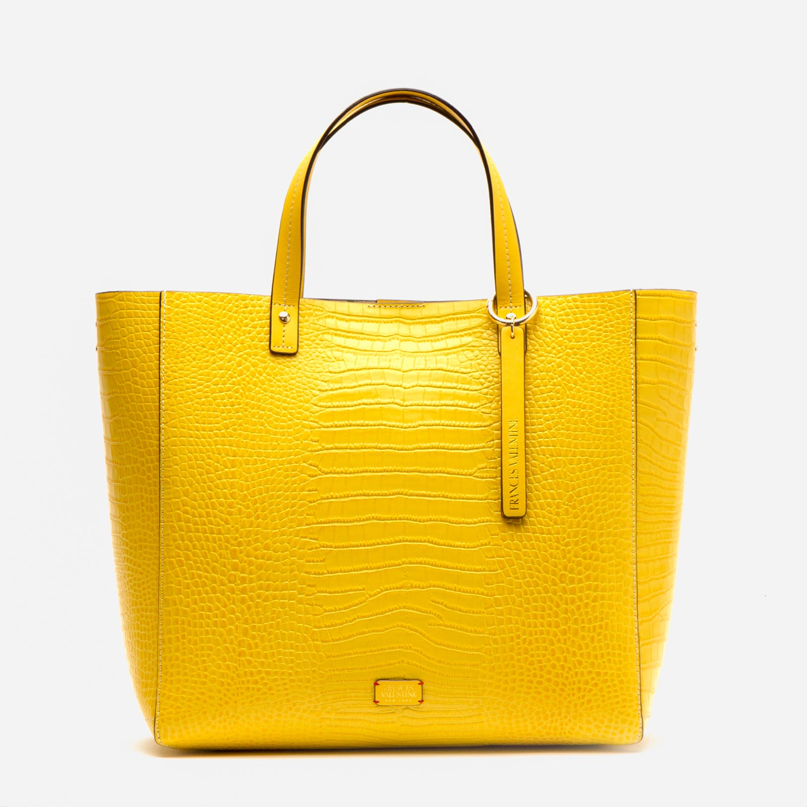 Margaret Tote Croc Embossed Leather Yellow - Frances Valentine