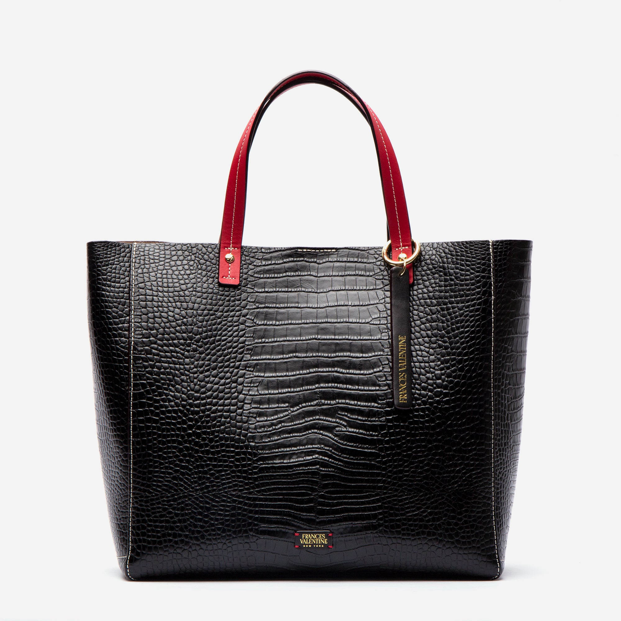 Large Margaret Tote Croc Embossed Black - Frances Valentine