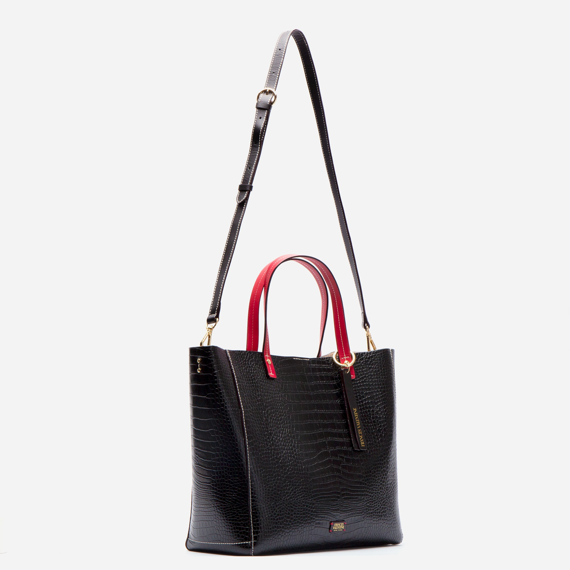 Large Margaret Tote Croc Embossed Black