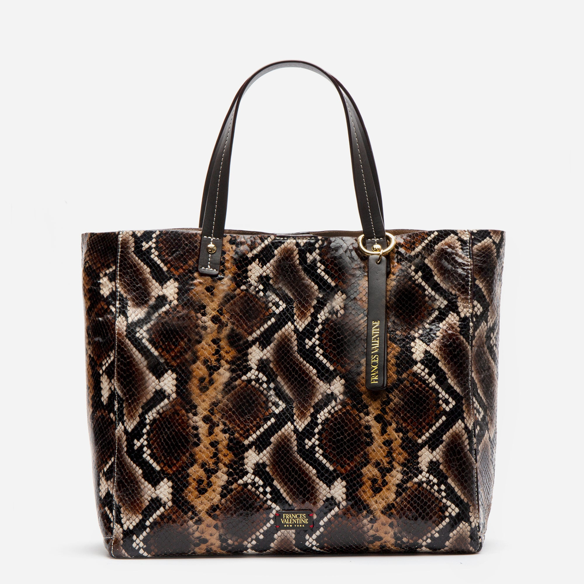 Large Margaret Tote Printed Leather Snake Chocolate