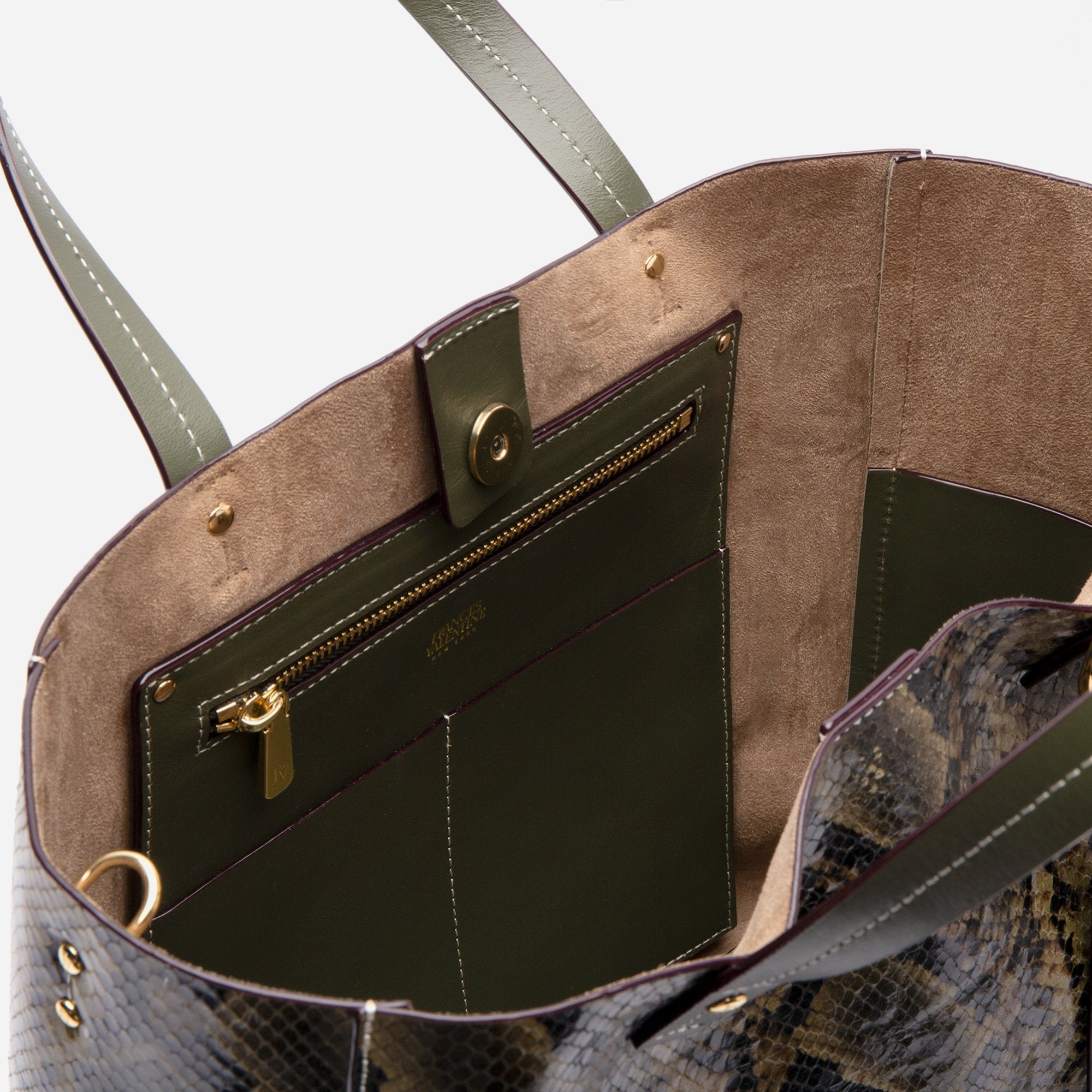 Large Margaret Tote Printed Leather Snake Olive