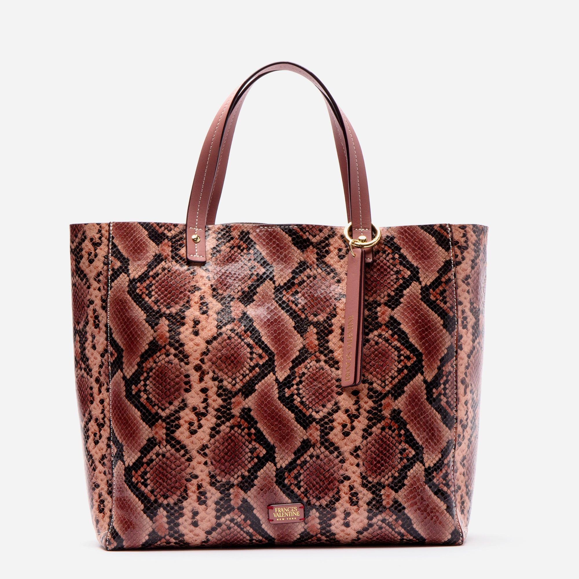 Large Margaret Tote Printed Leather Snake Pink