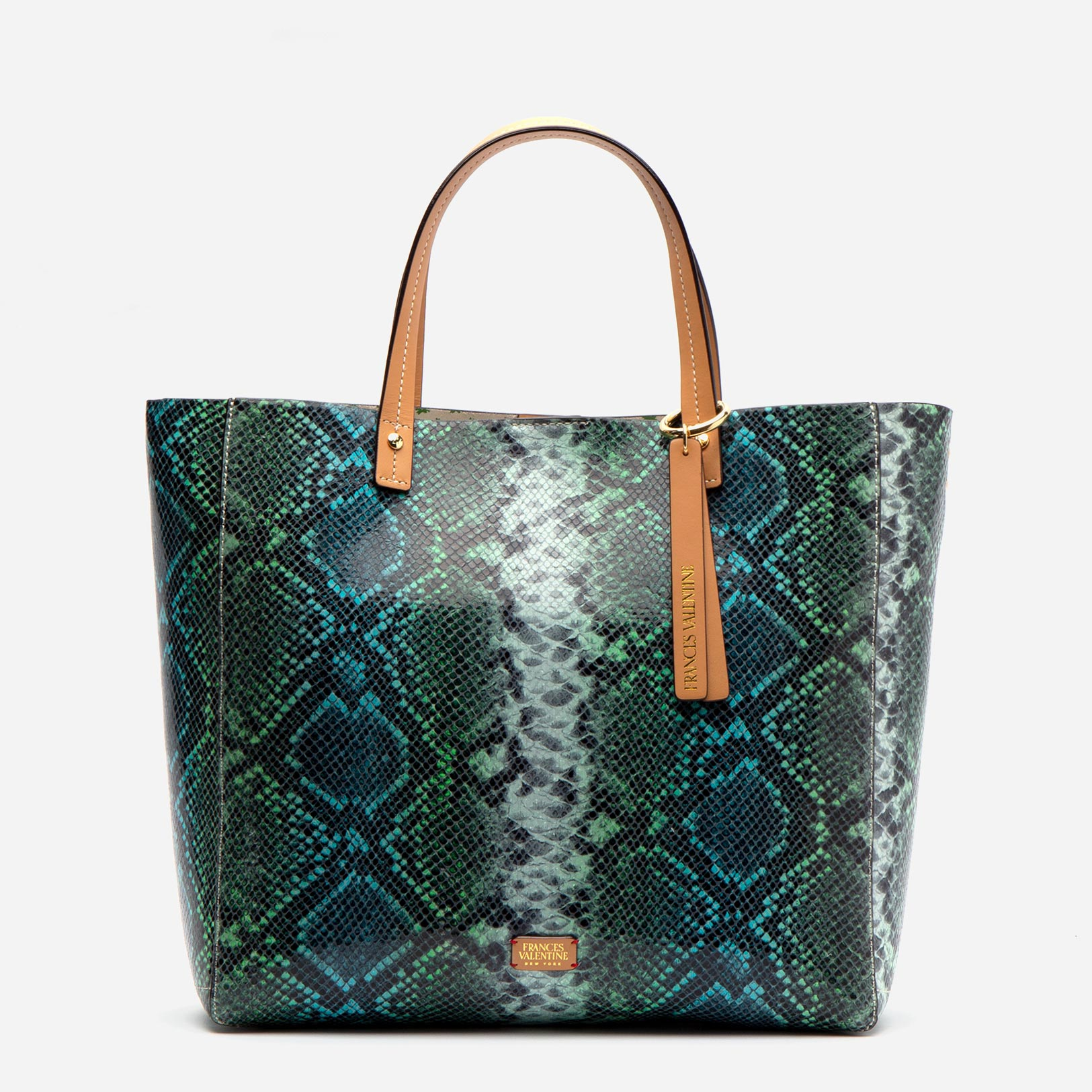 Margaret Tote Striped Snake Leather Blue