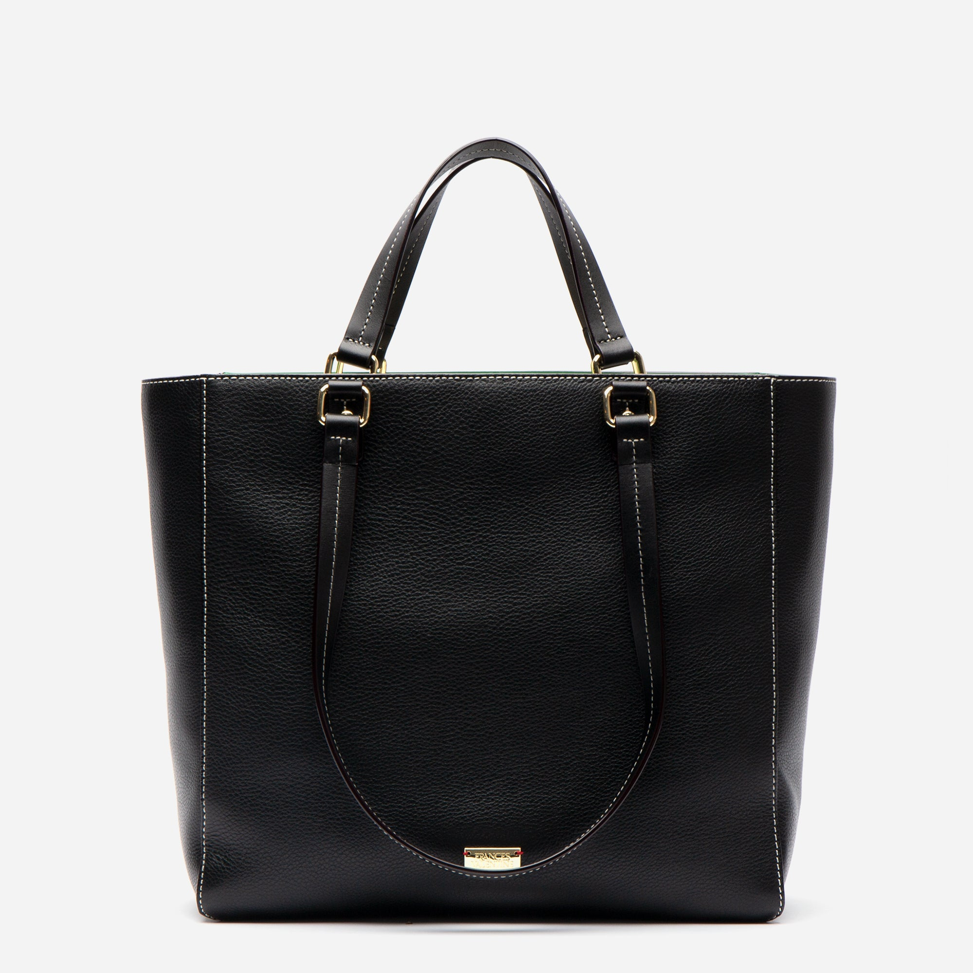 Margie Tote Tumbled Leather Black - Frances Valentine