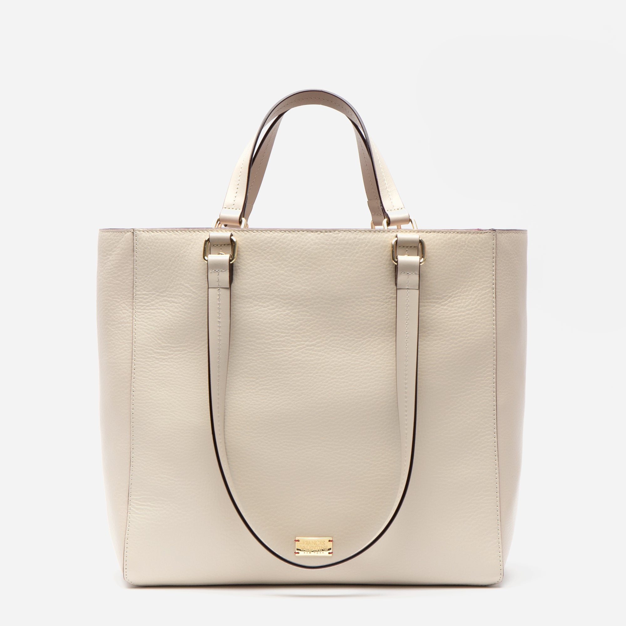 Margie Tote Tumbled Leather Oyster - Frances Valentine