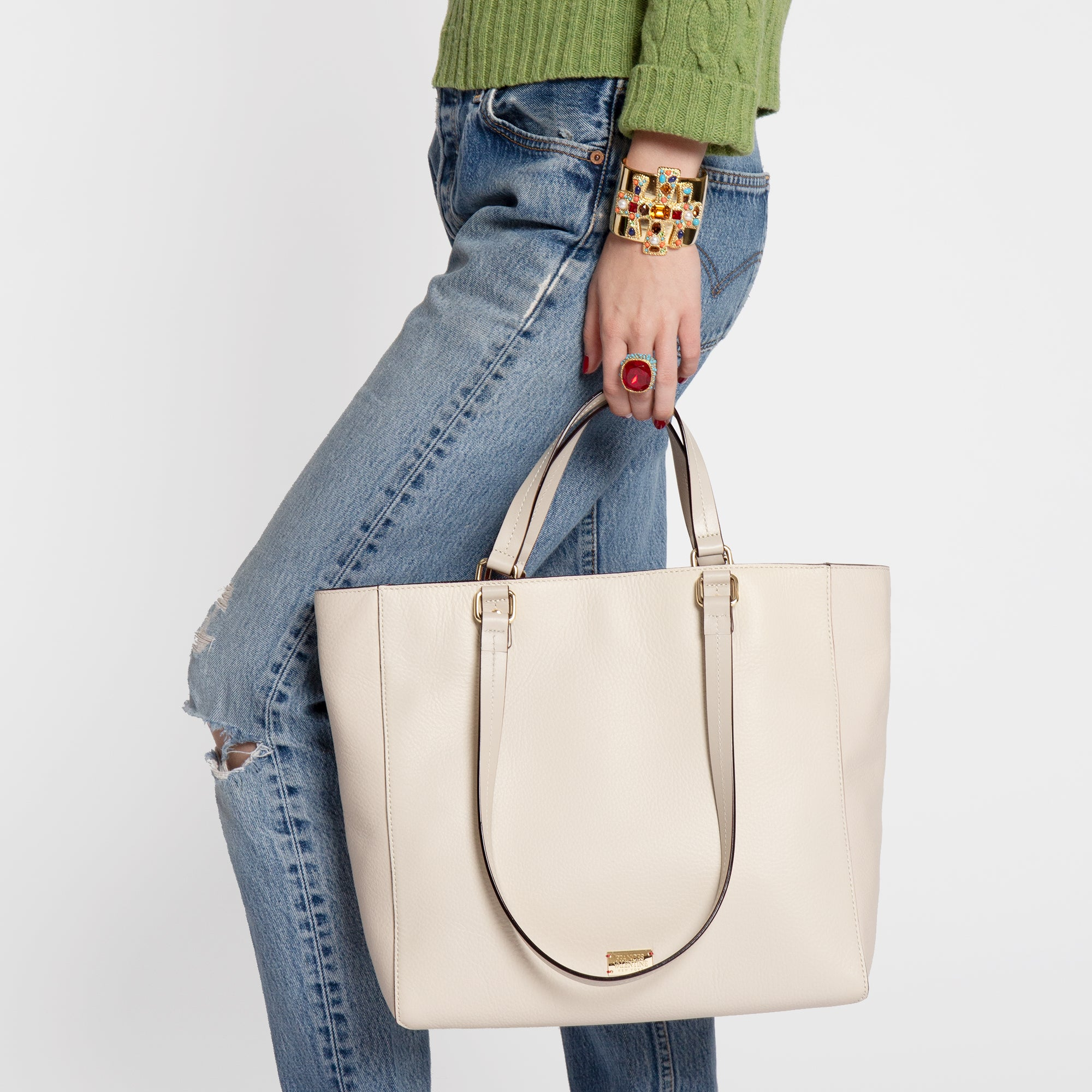 Margie Tote Tumbled Leather Oyster