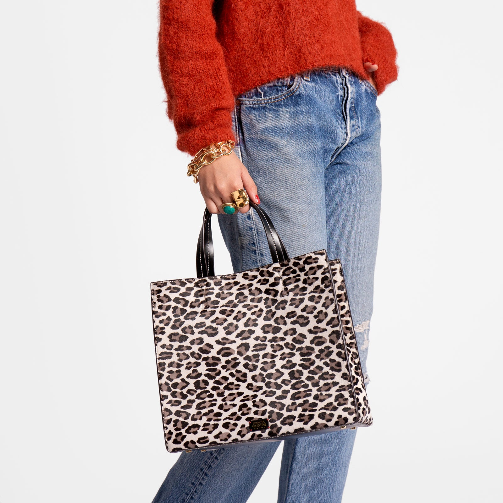 Margo Tote Printed Haircalf Snow Leopard