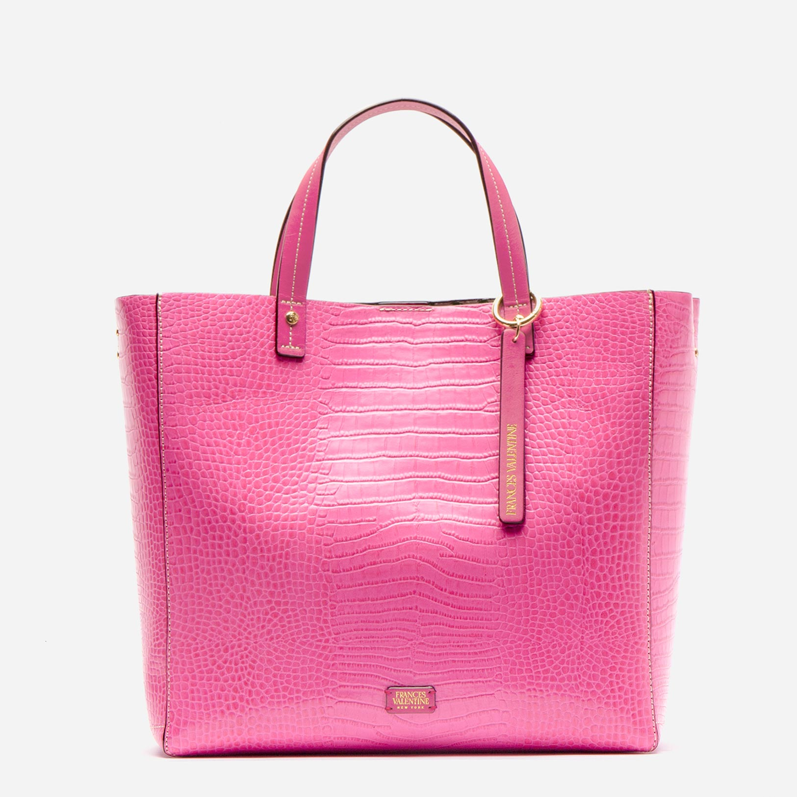 Margaret Tote Croc Embossed Leather Pink - Frances Valentine