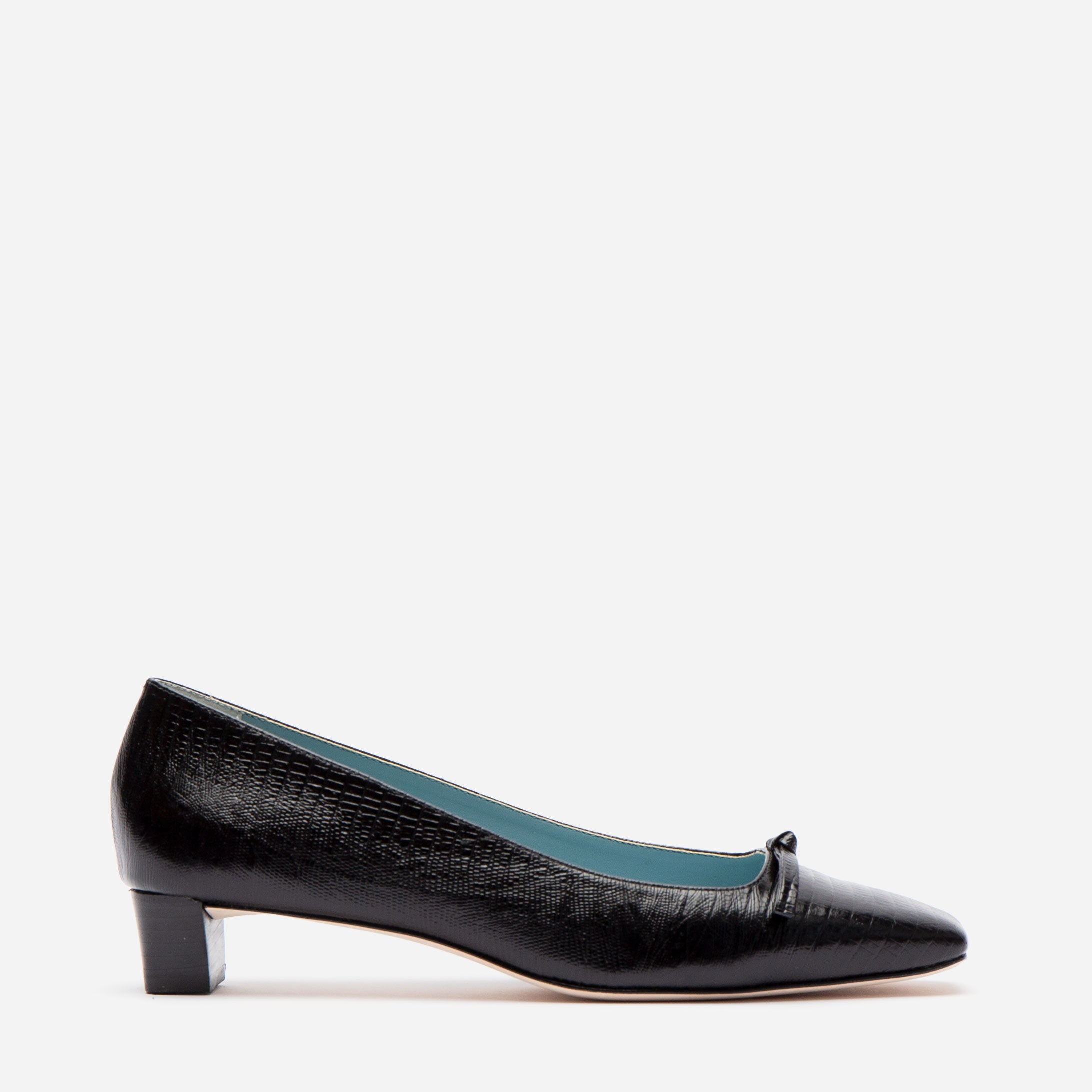 Mary Mini Block Heel Lizard Embossed Black