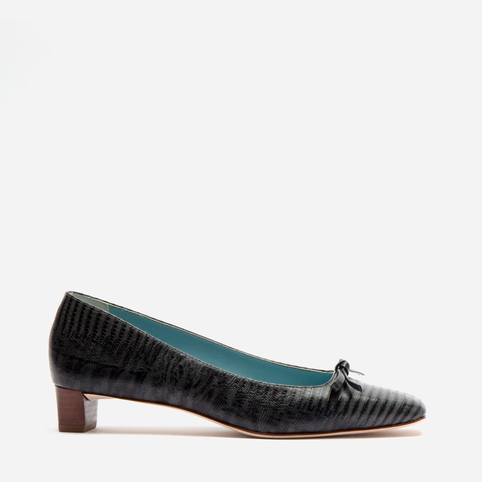 Mary Mini Block Heel Lizard Embossed Dark Grey - Frances Valentine