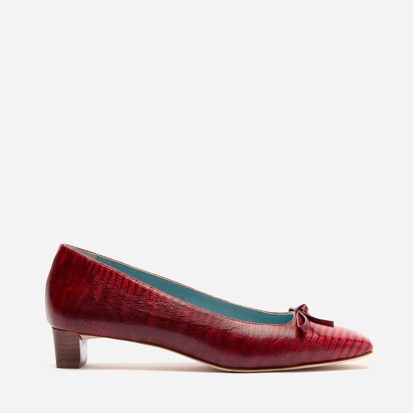 Mary Mini Block Heel Lizard Embossed Red - Frances Valentine