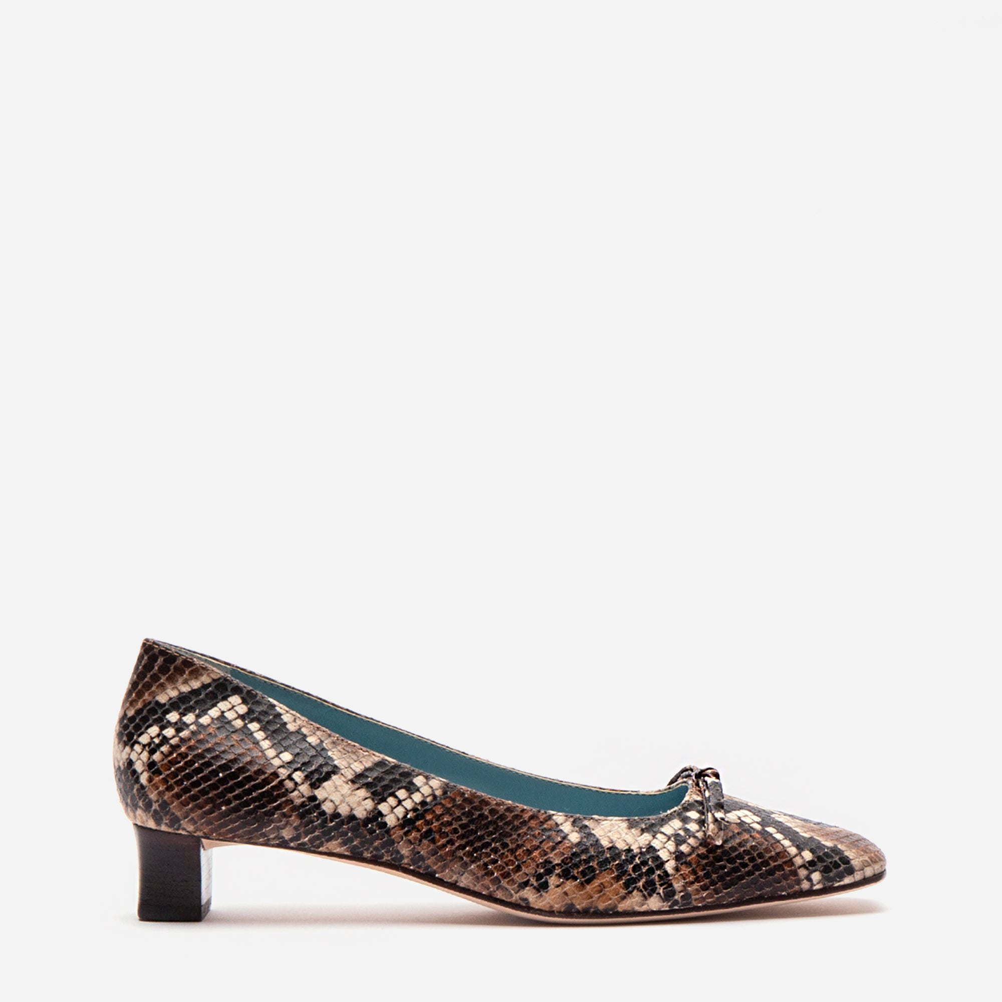 Mary Mini Block Heel Printed Snake Chocolate - Frances Valentine