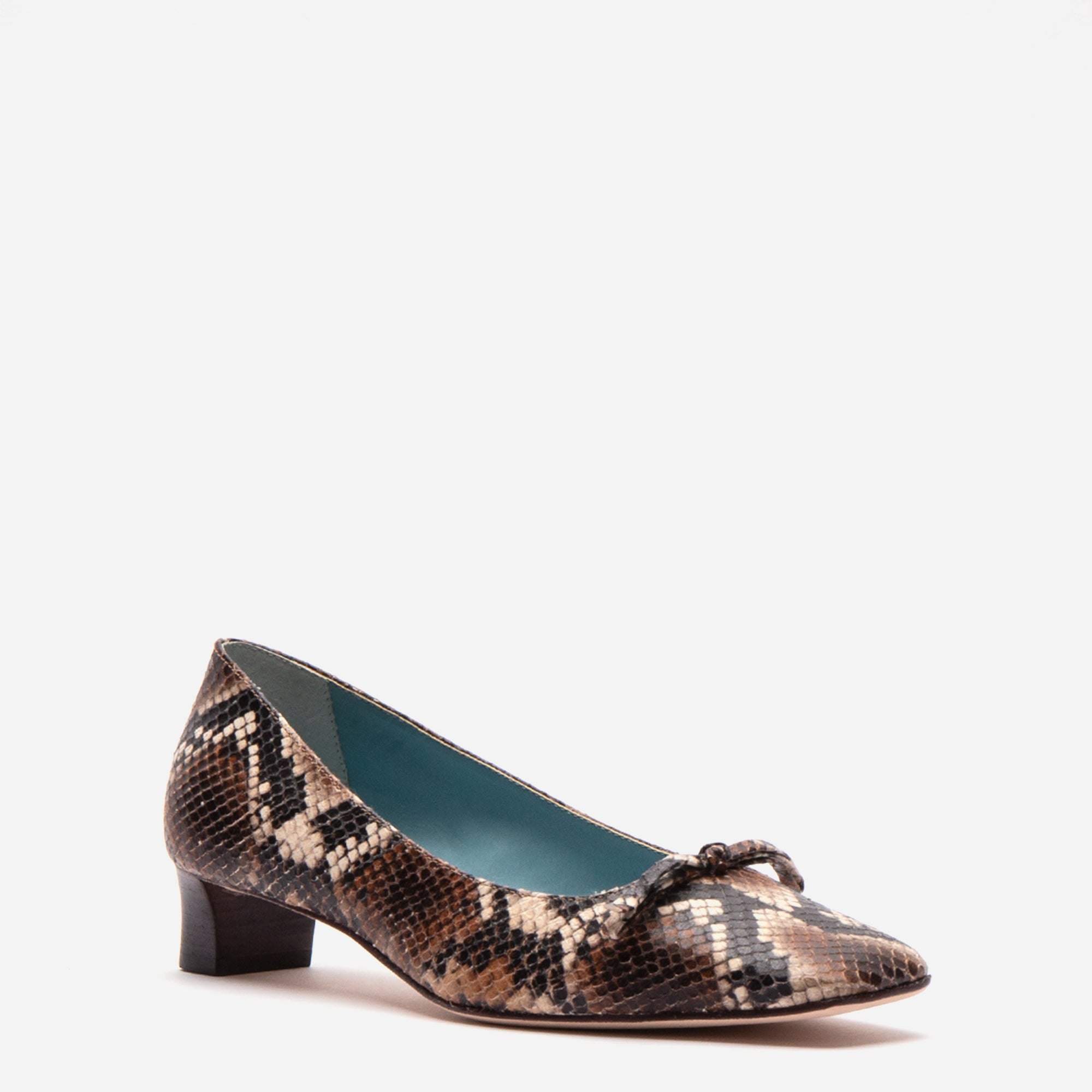 Mary Mini Block Heel Printed Snake Chocolate