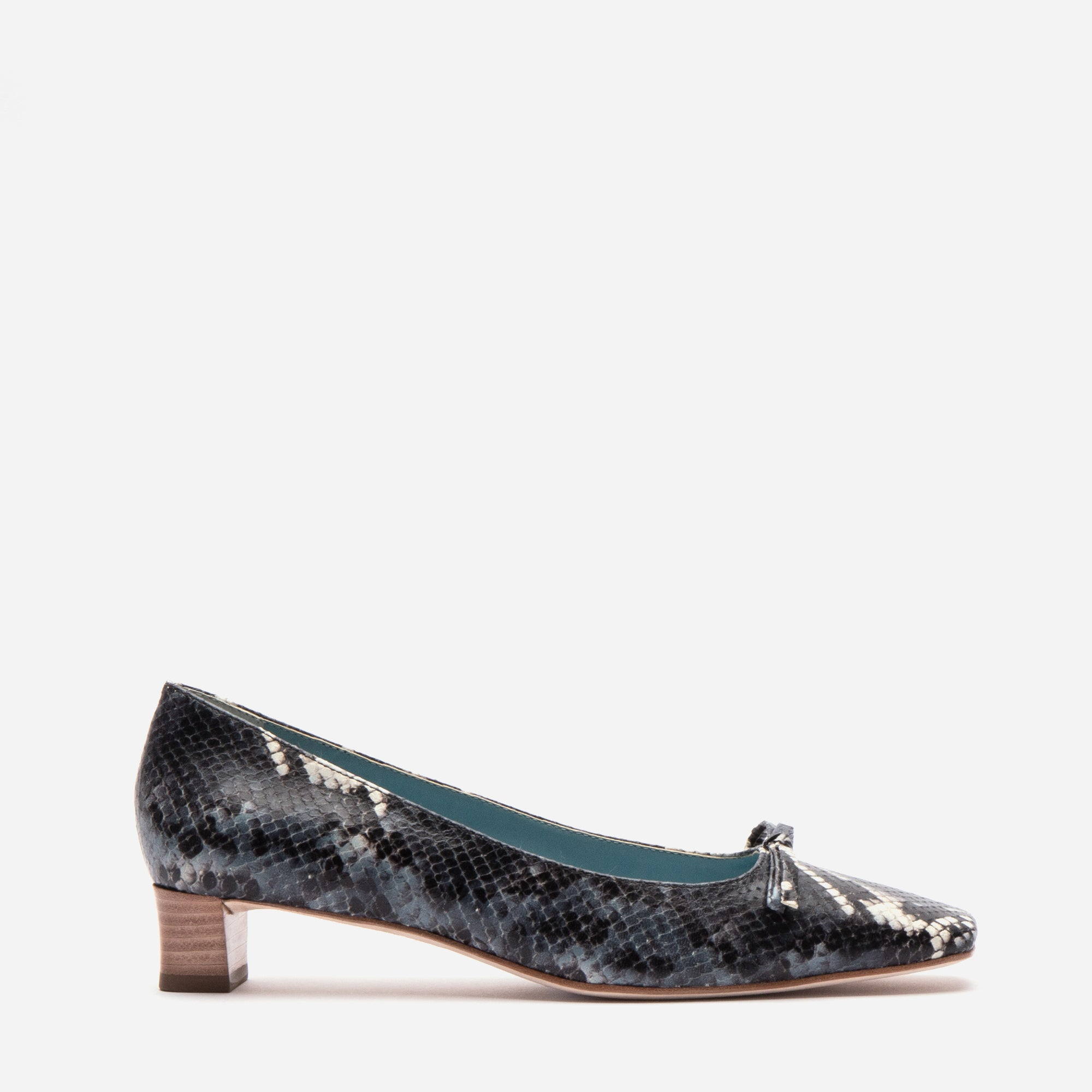 Mary Mini Block Heel Printed Snake Navy