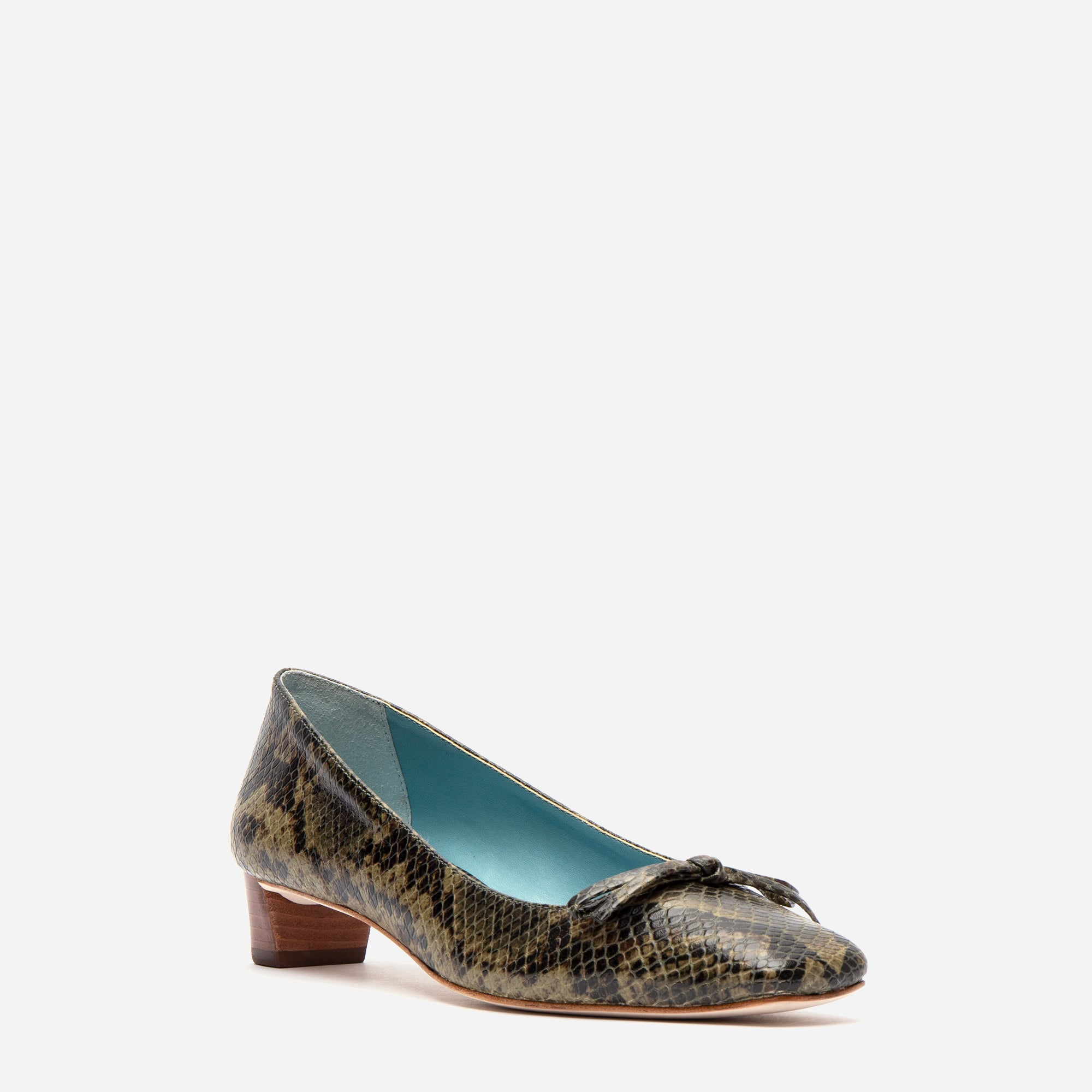 Mary Mini Block Heel Printed Snake Olive