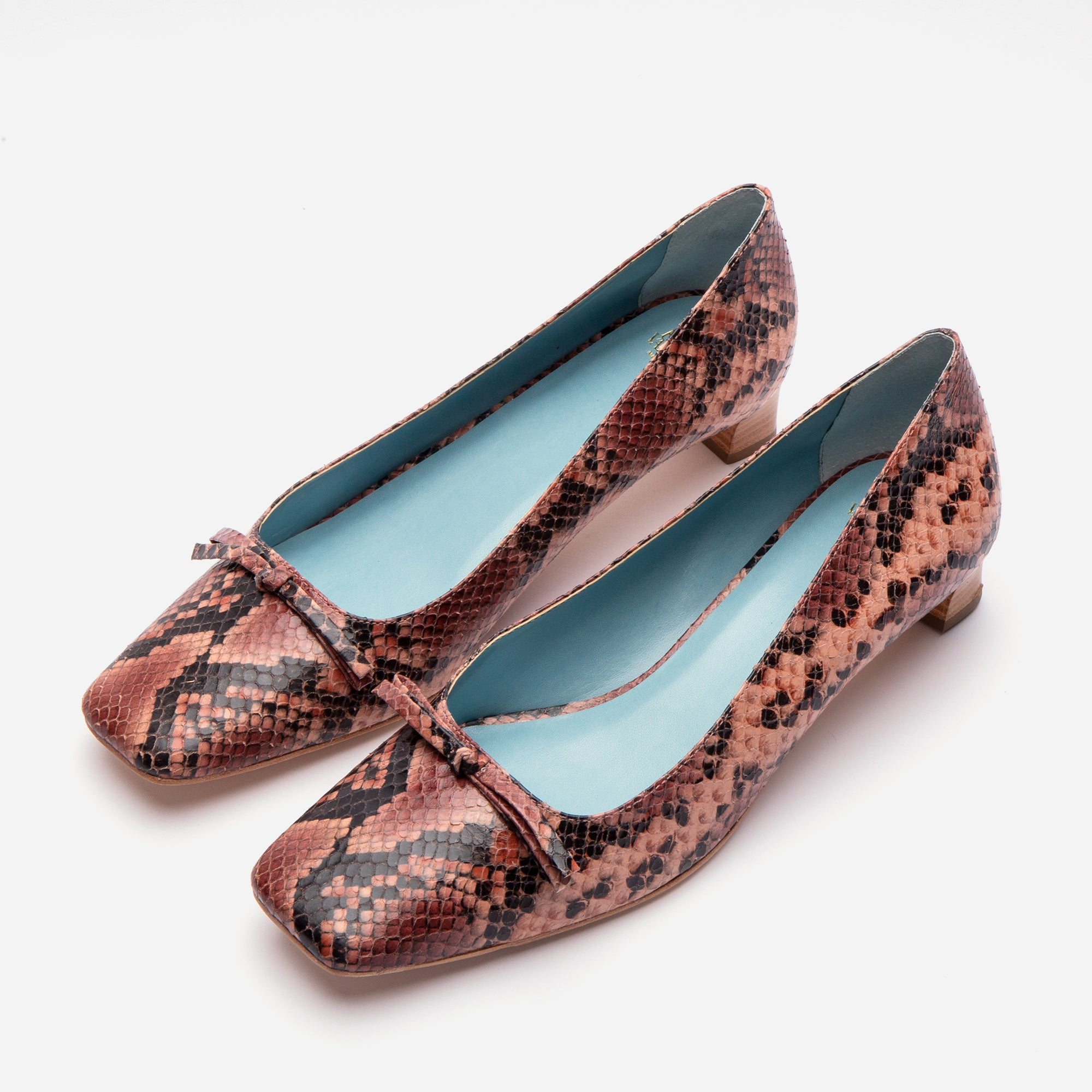 Mary Mini Block Heel Printed Snake Pink