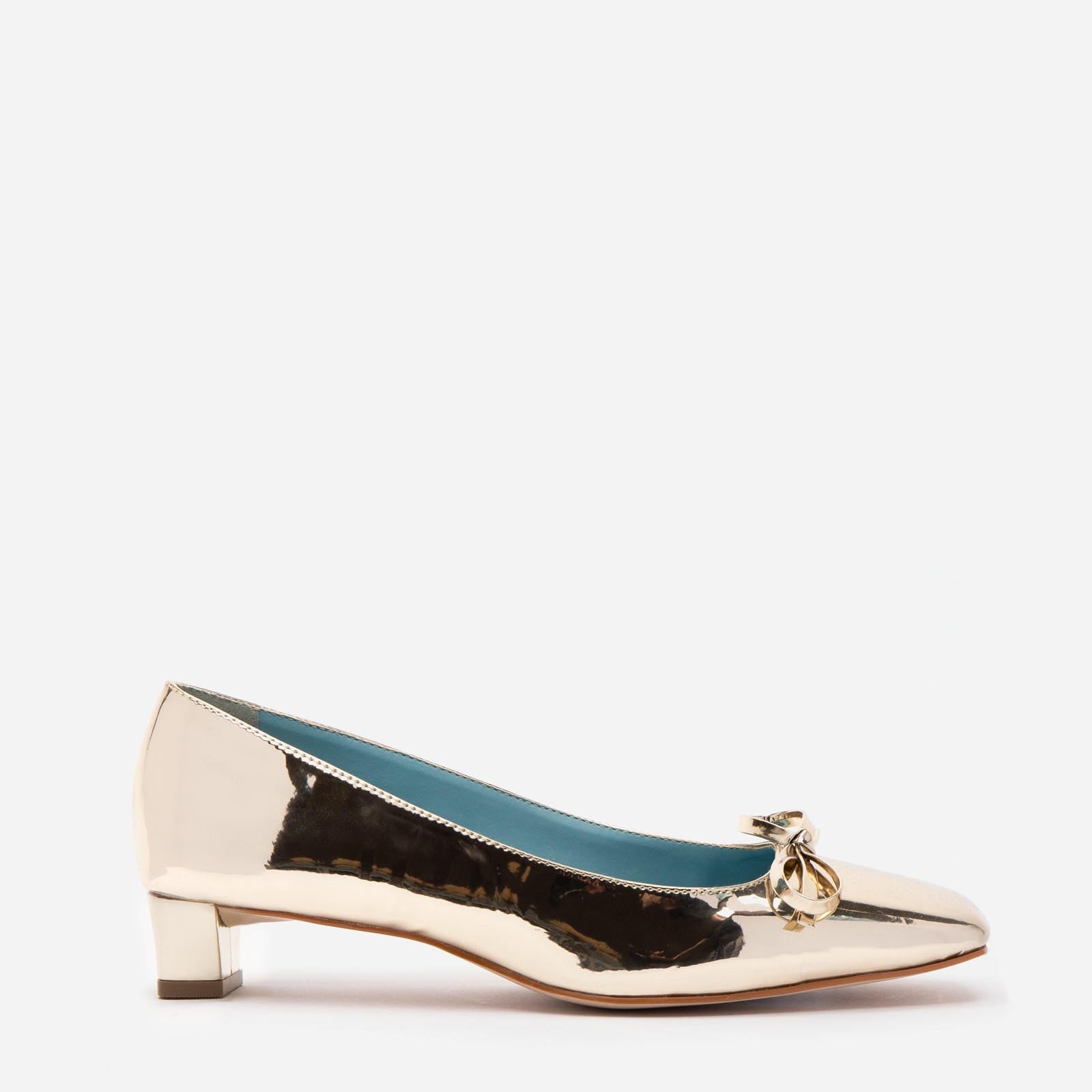 Mary Mini Block Heel Vegan Leather Platino - Frances Valentine