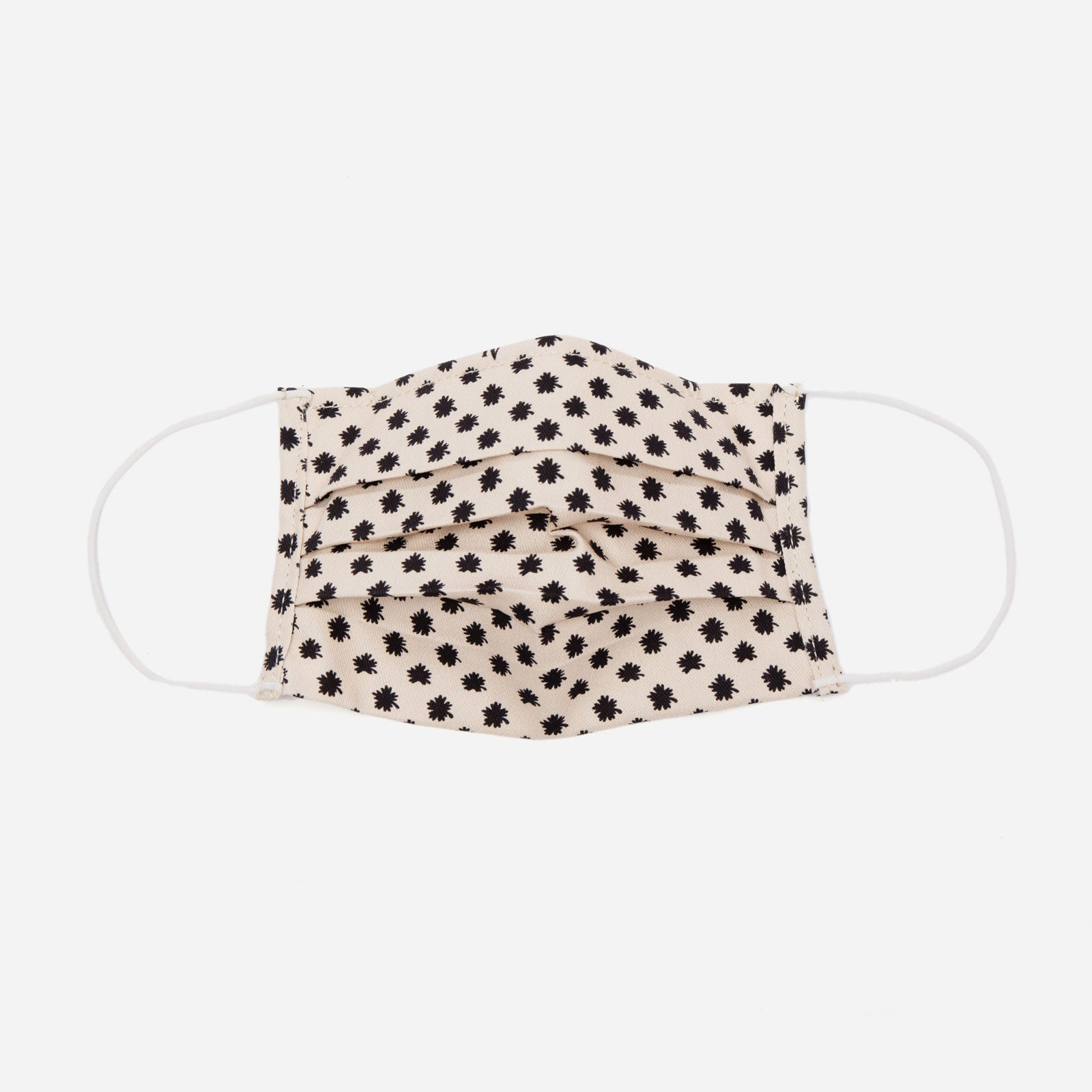 Folded Mask Asterisk Dot Print Black