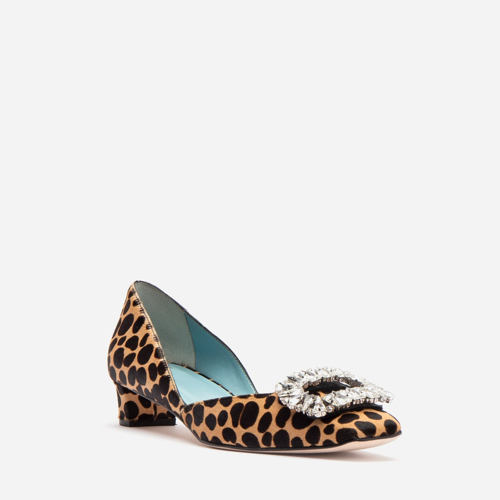 McCall Stacked Heel D'Orsay Printed Haircalf Cheetah