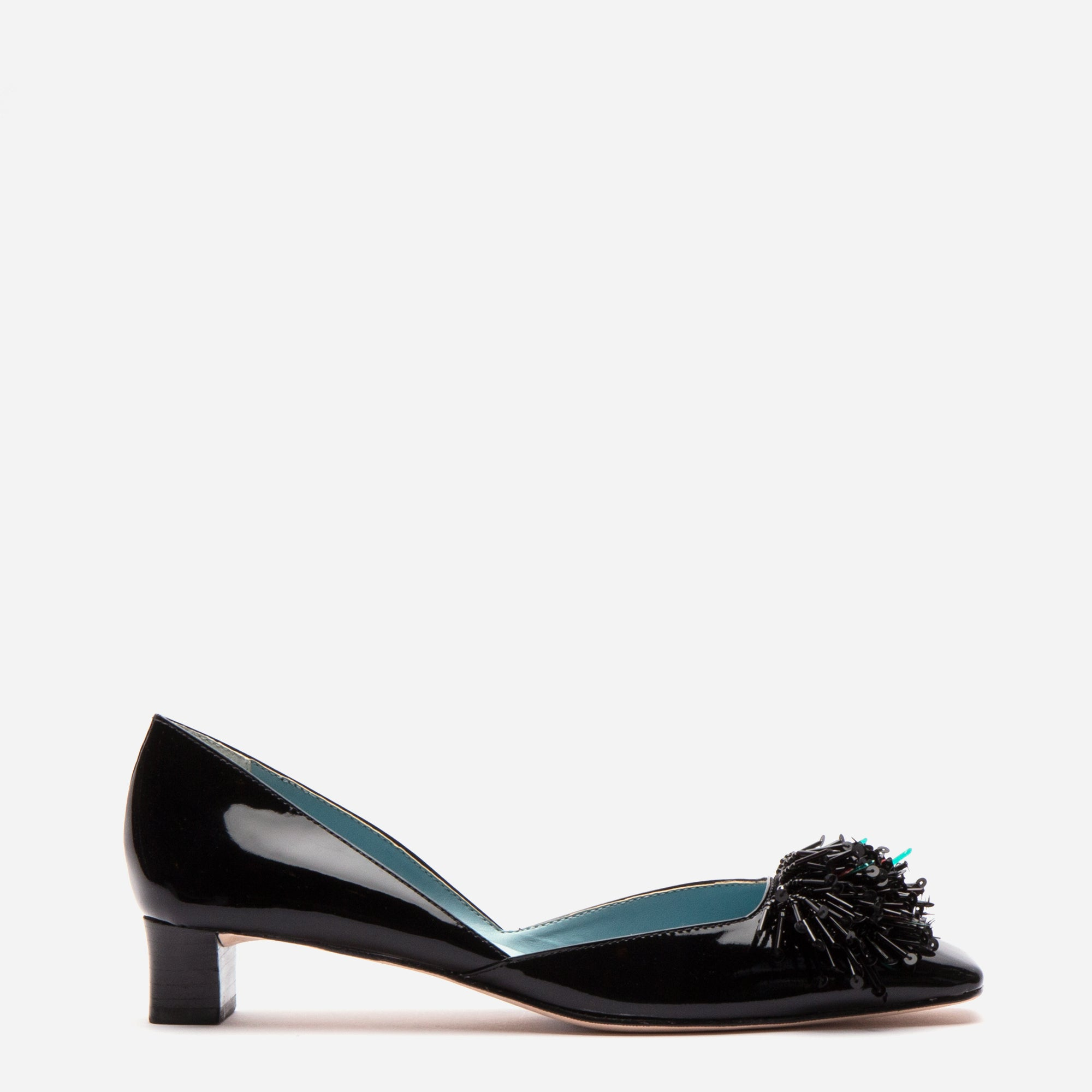 McCall Stacked Heel D'Orsay Black Patent - Frances Valentine