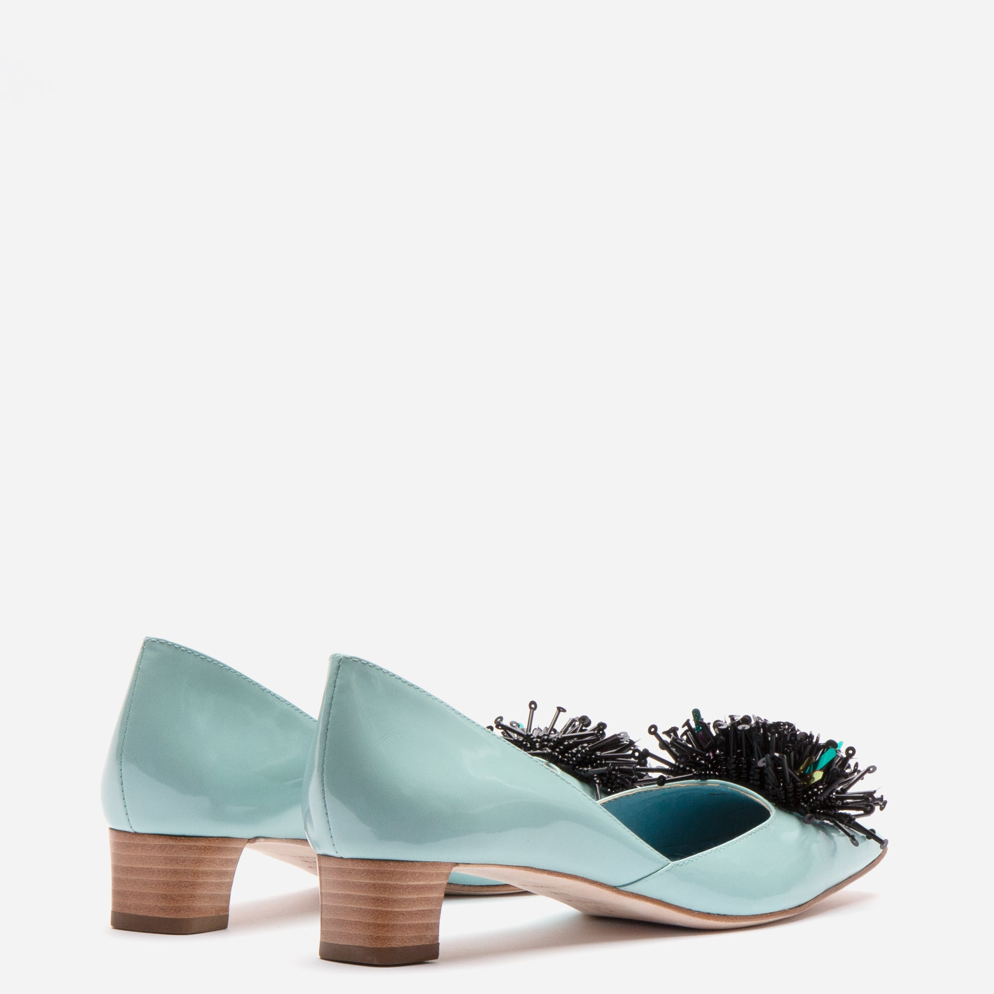 McCall Stacked Heel D'Orsay Light Blue Patent