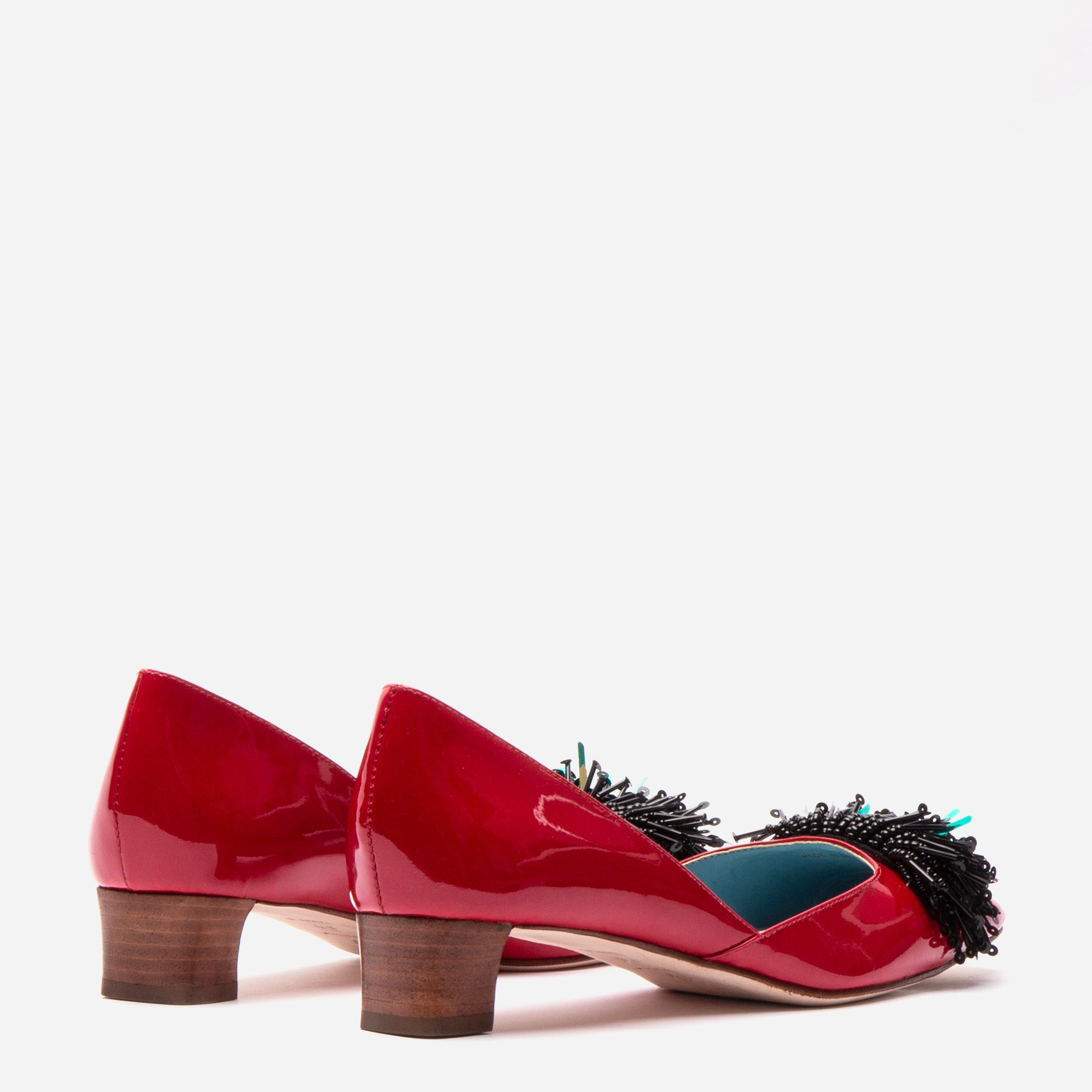 McCall Stacked Heel D'Orsay Red Patent