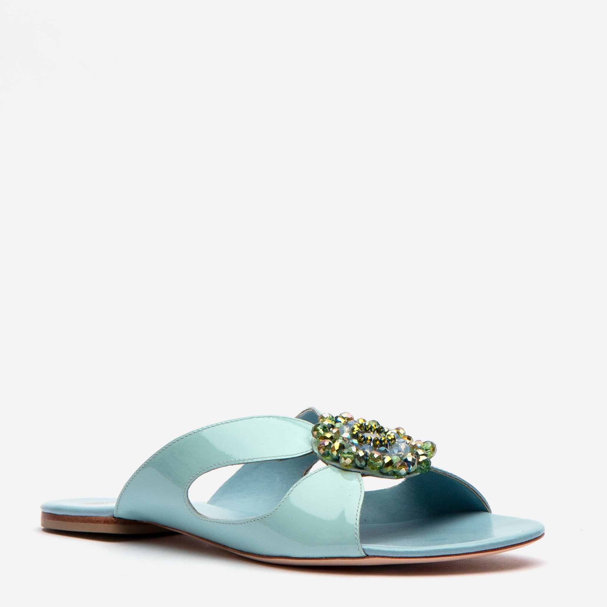 Meredith Slide Jewel Flowers Light Blue