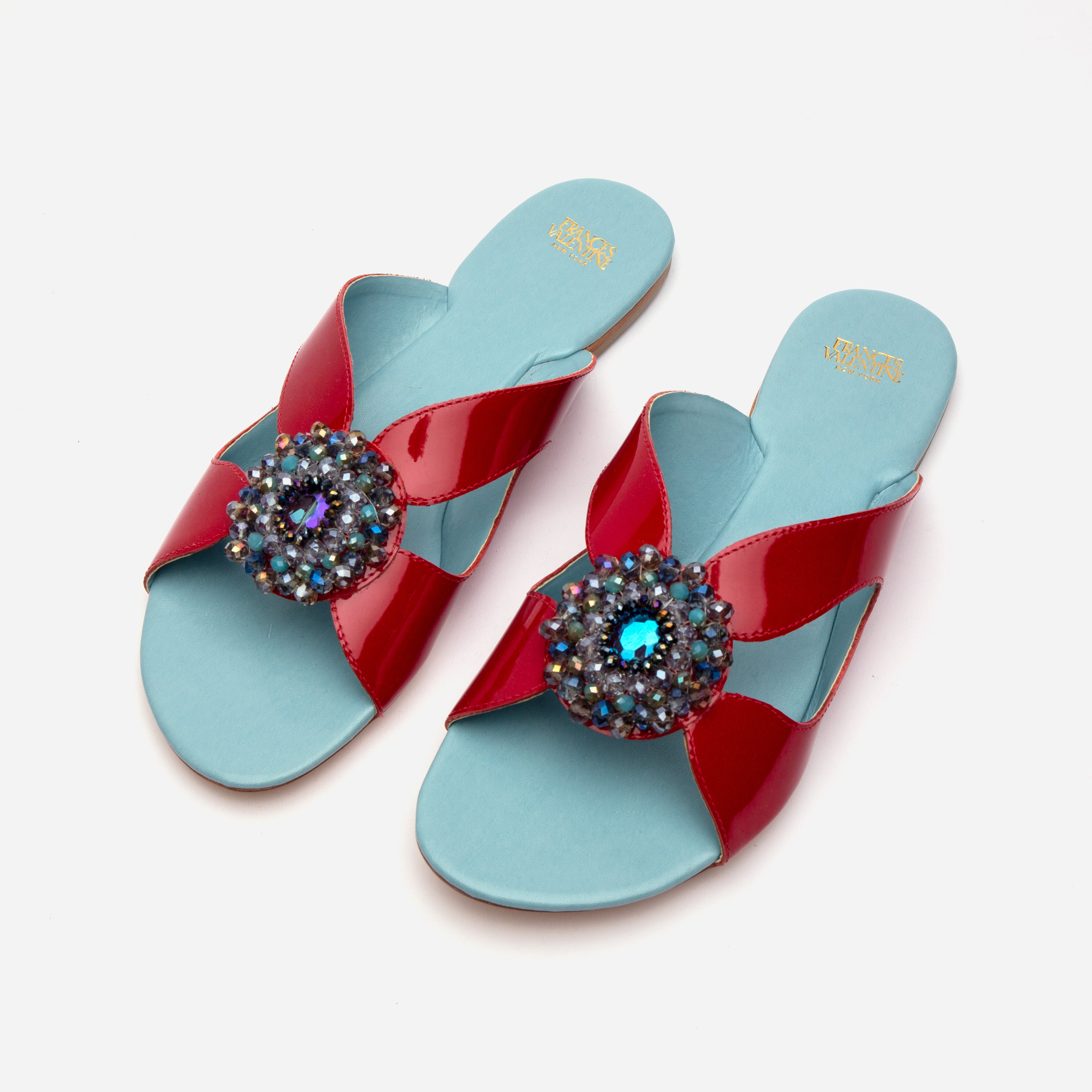 Meredith Slide Jewel Flowers Red