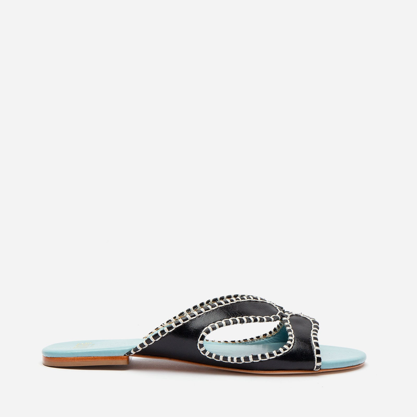 Meredith Blanket Stitch Sandal Black