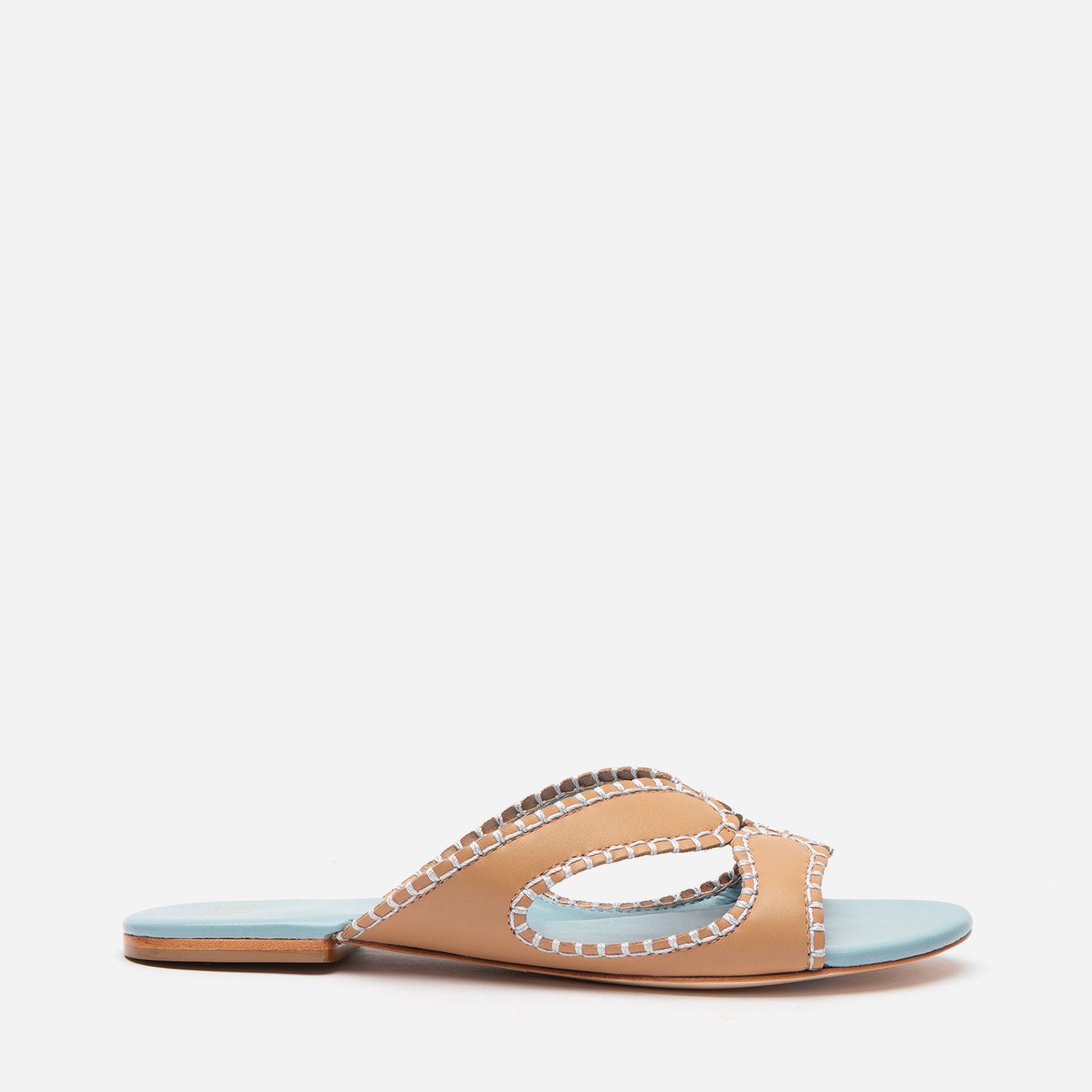Meredith Blanket Stitch Sandal Natural Vachetta