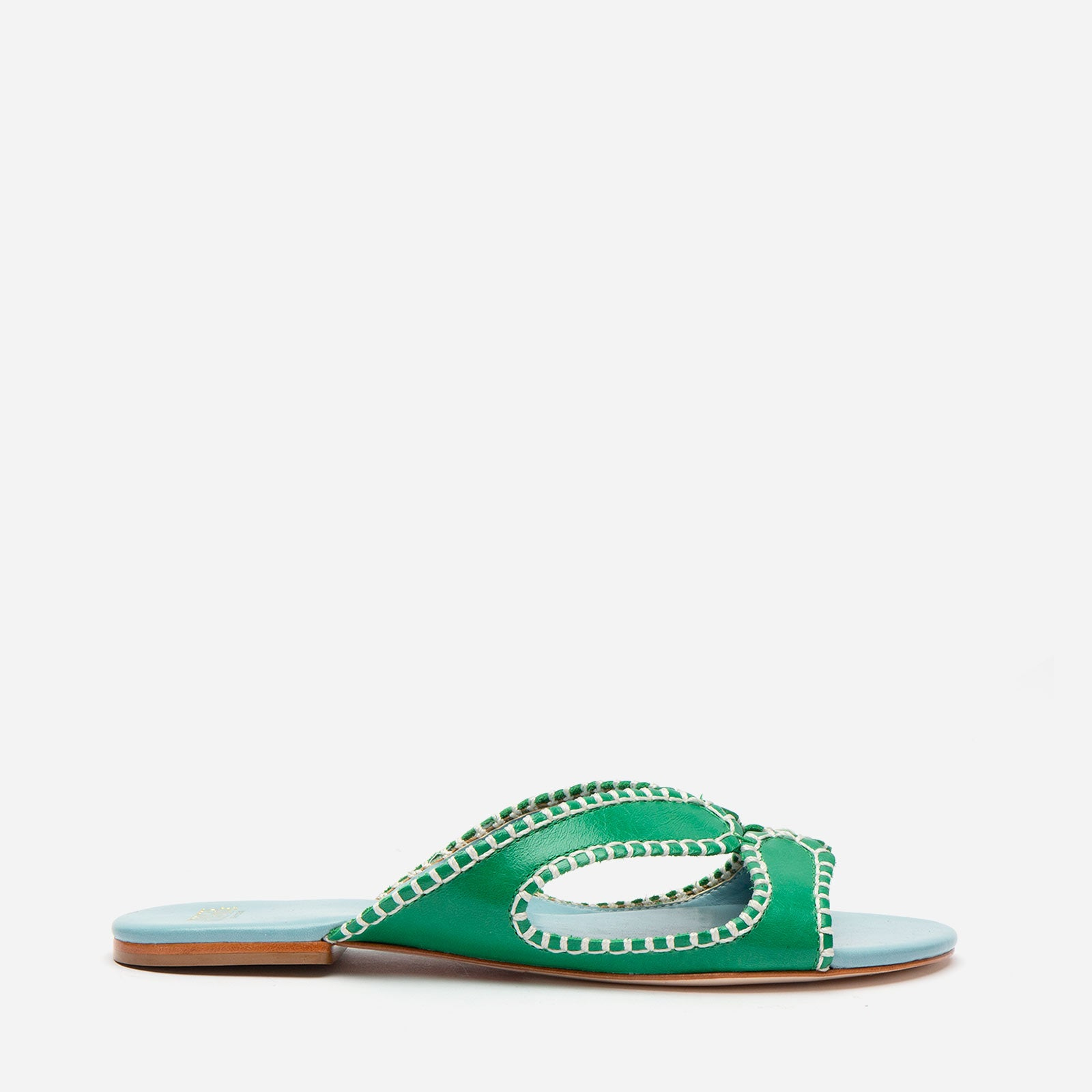 Meredith Blanket Stitch Sandal Green