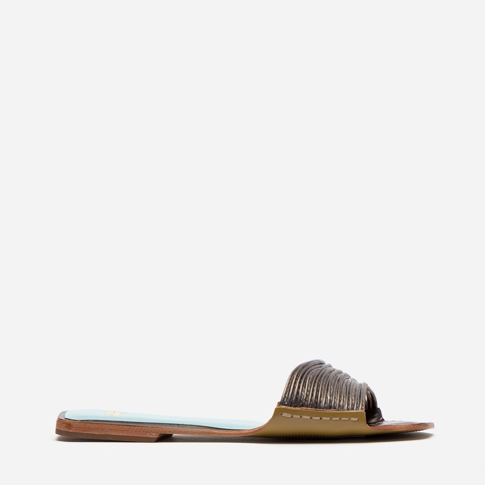 Strappy Square Toe Slide Metallic Leather Anthracite