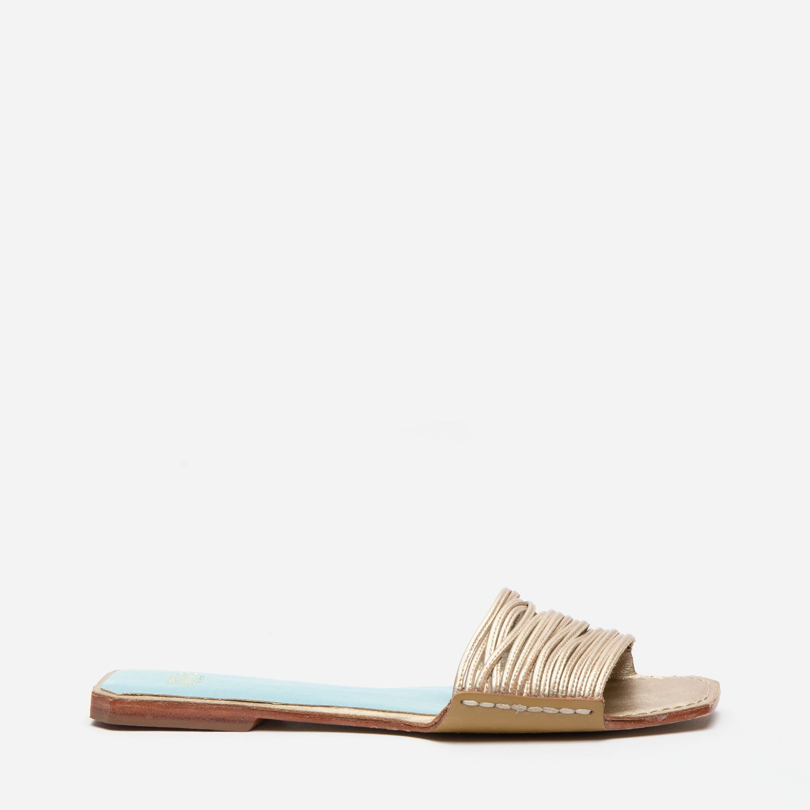 Strappy Square Toe Slide Metallic Leather Platino