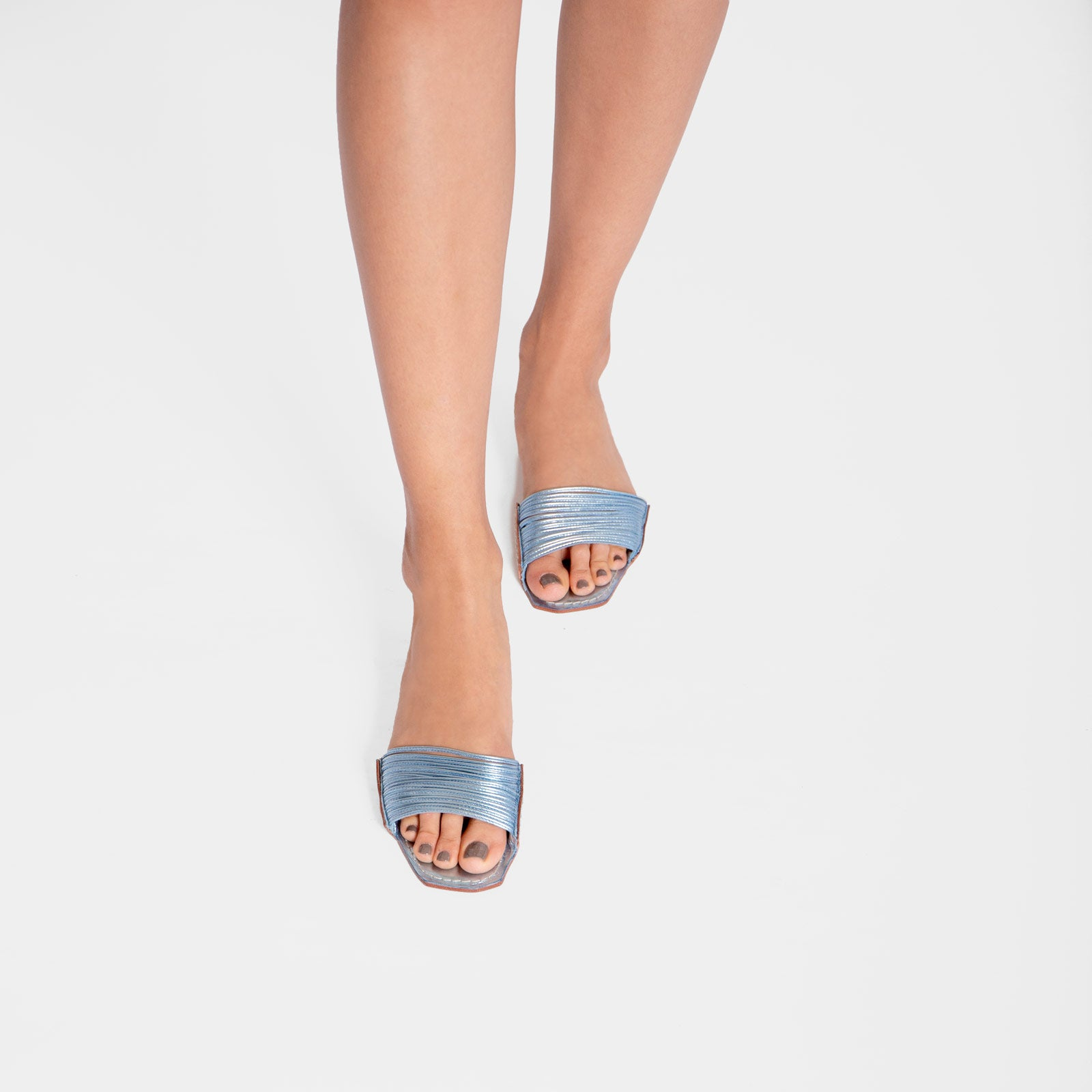 Strappy Square Toe Slide Metallic Leather Light Blue