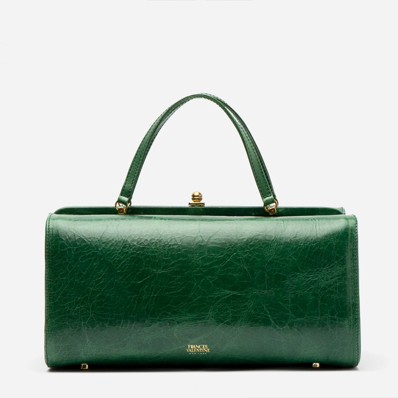 Michelle Crossbody Naplak Frame Bag Green - Frances Valentine