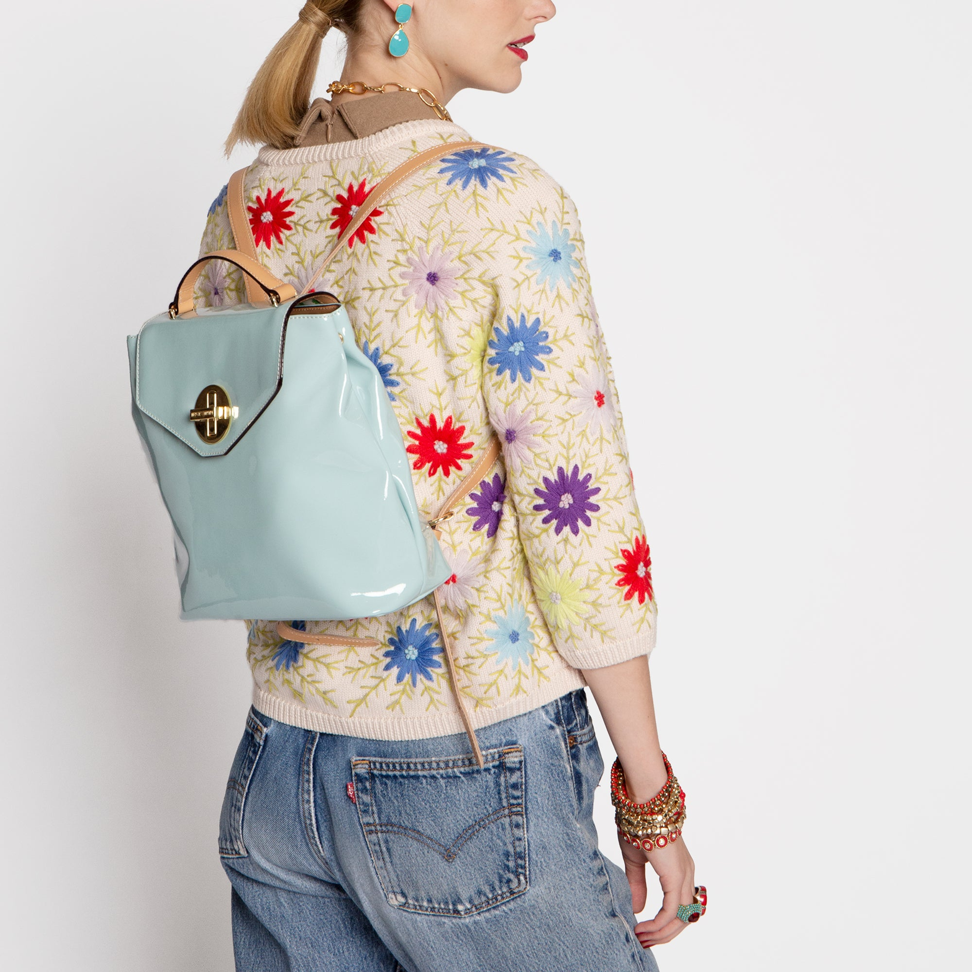 Midge Backpack Soft Patent Light Blue