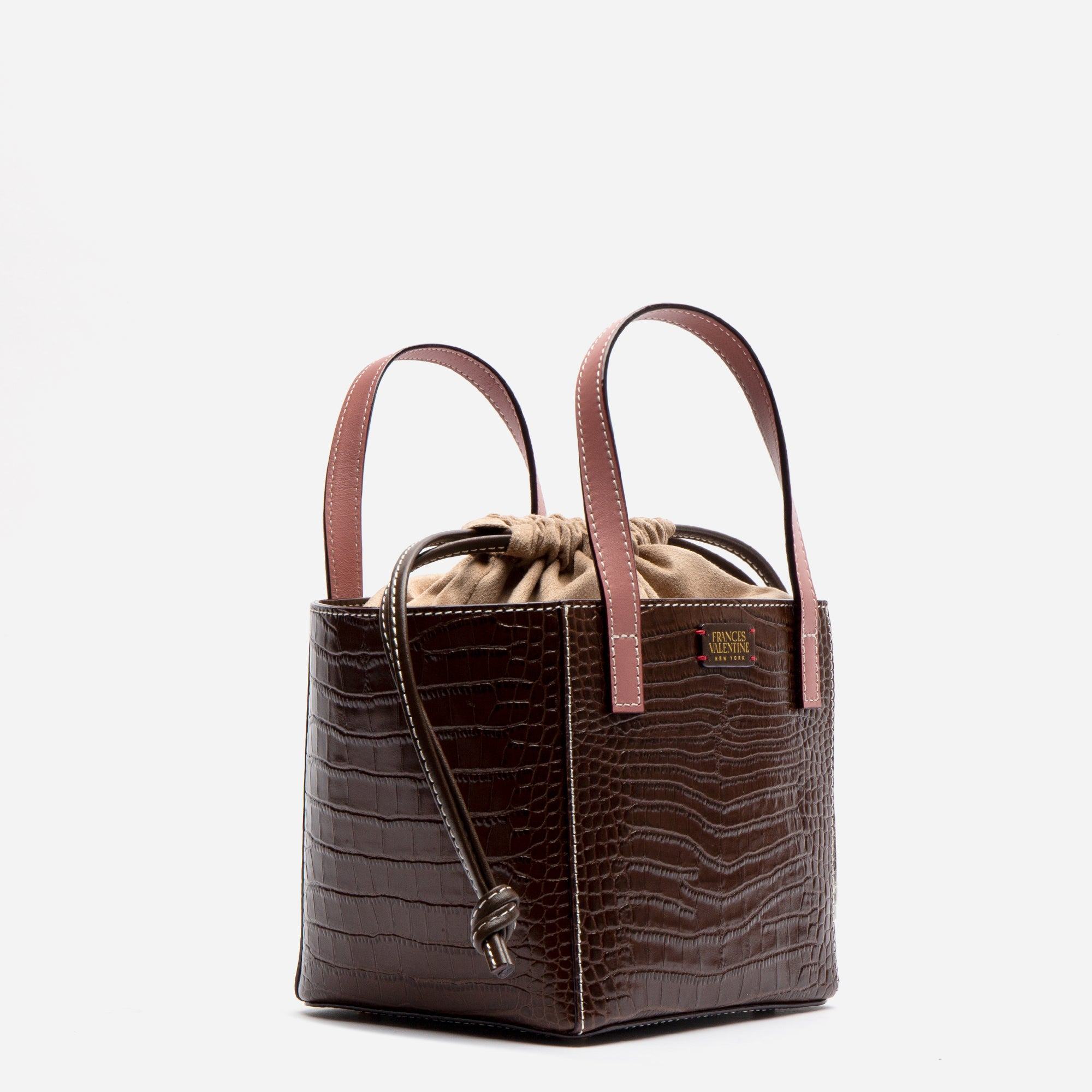 Moxy Cube Tote Croc Embossed Chocolate