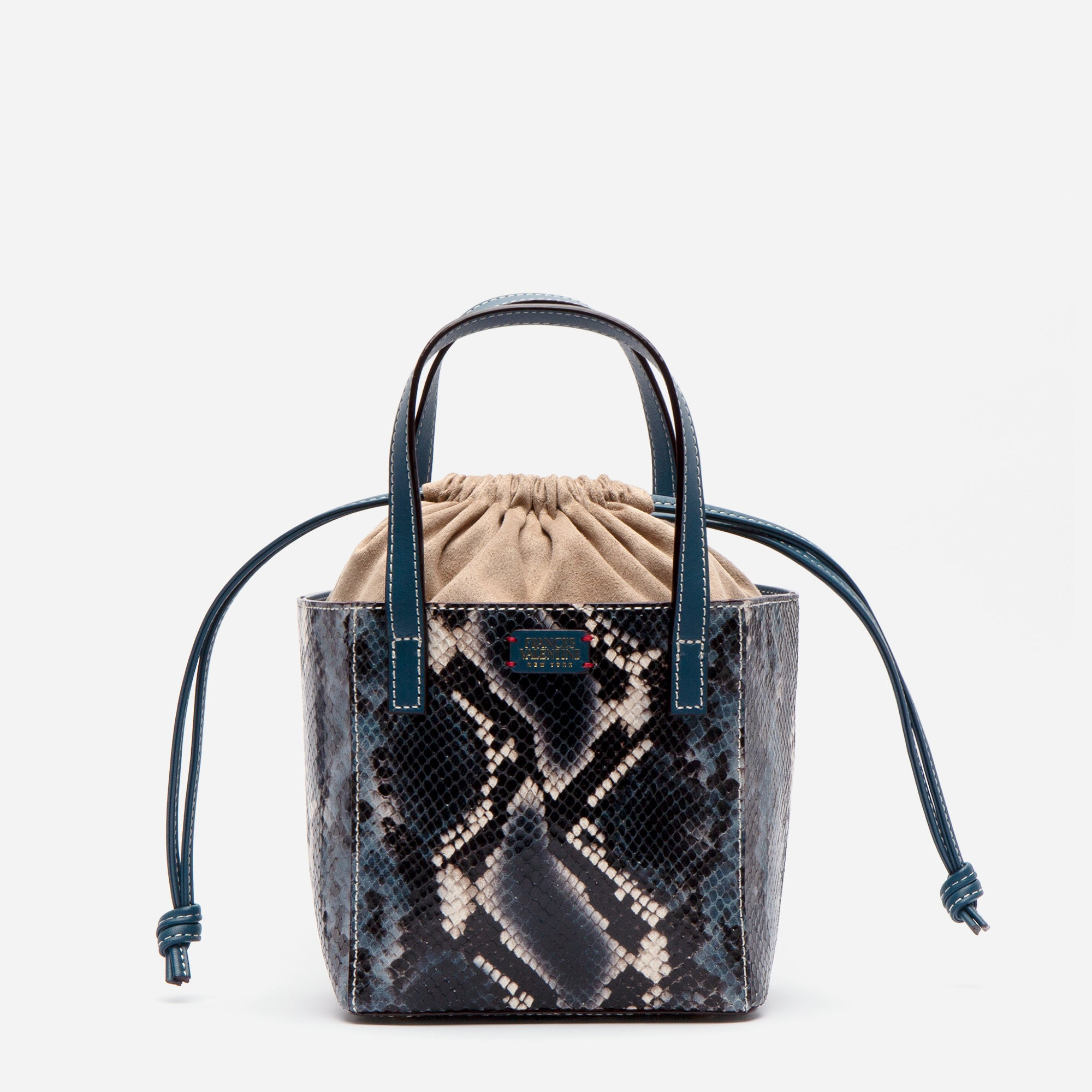 Moxy Cube Tote Snake Embossed Blue