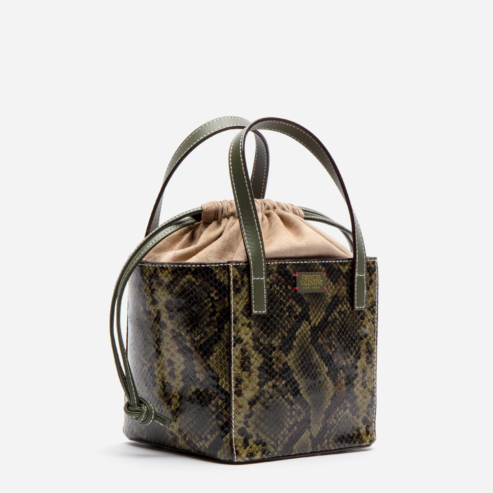 Moxy Cube Tote Snake Embossed Olive