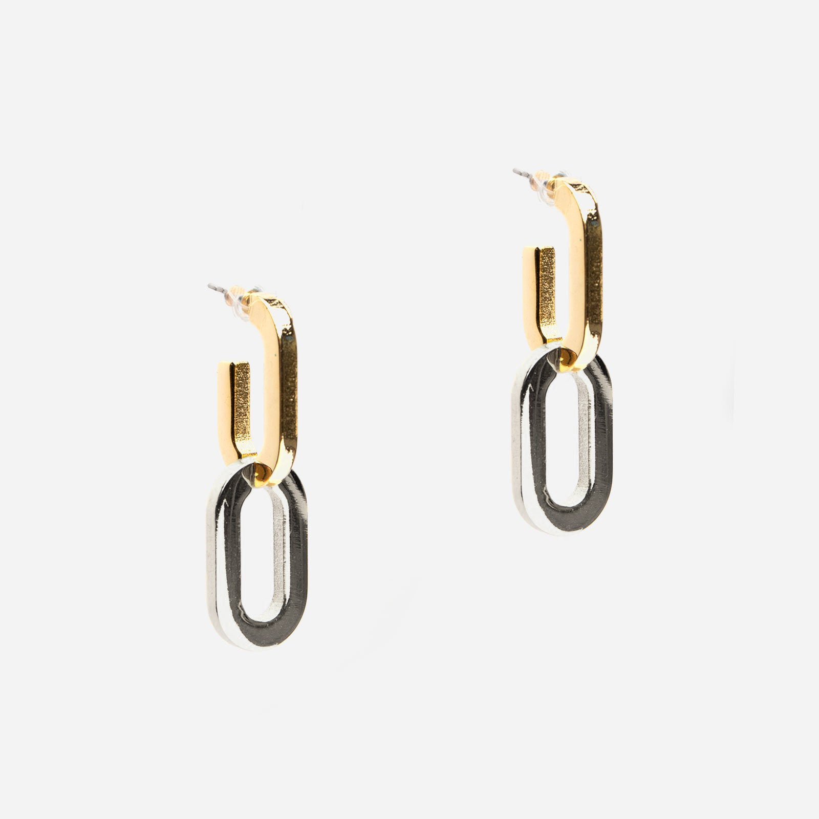 Two Tone Link Earrings - Frances Valentine