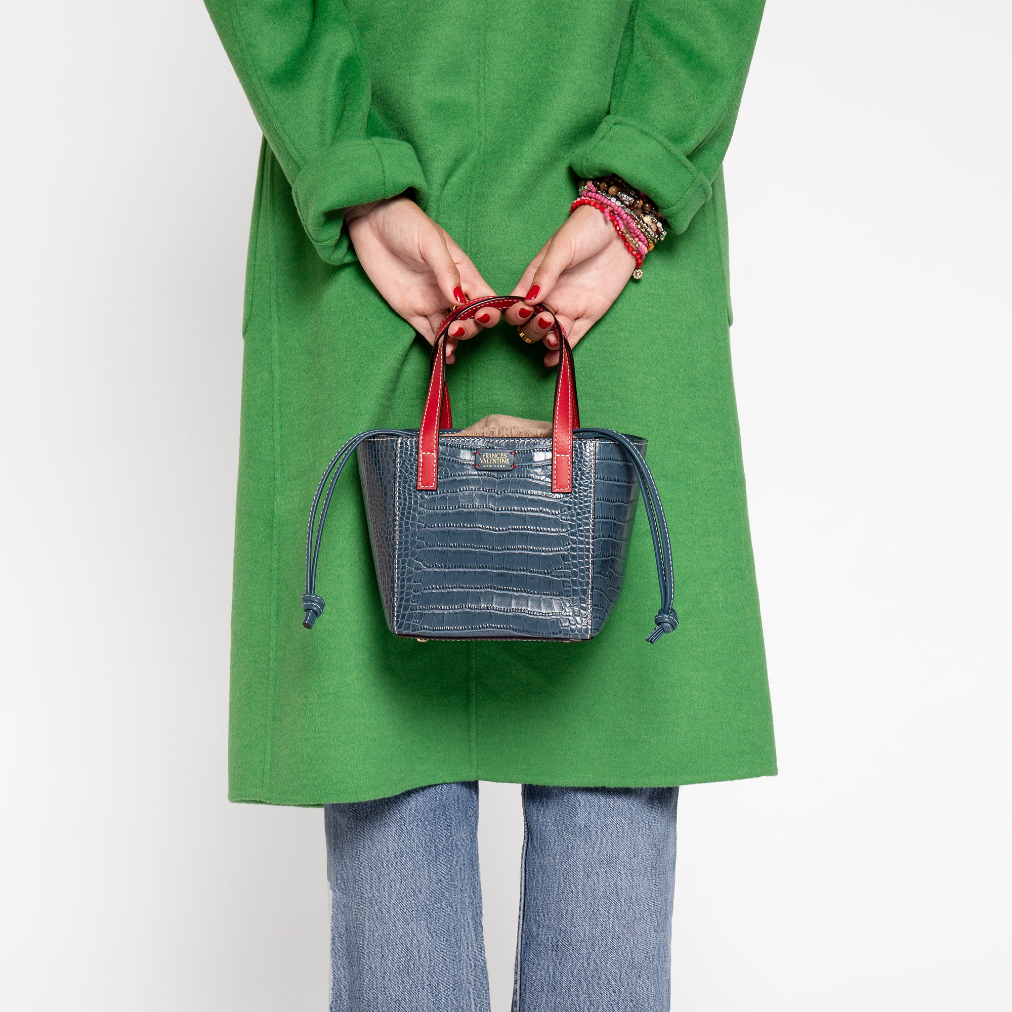 Moxy Cube Tote Croc Embossed Blue
