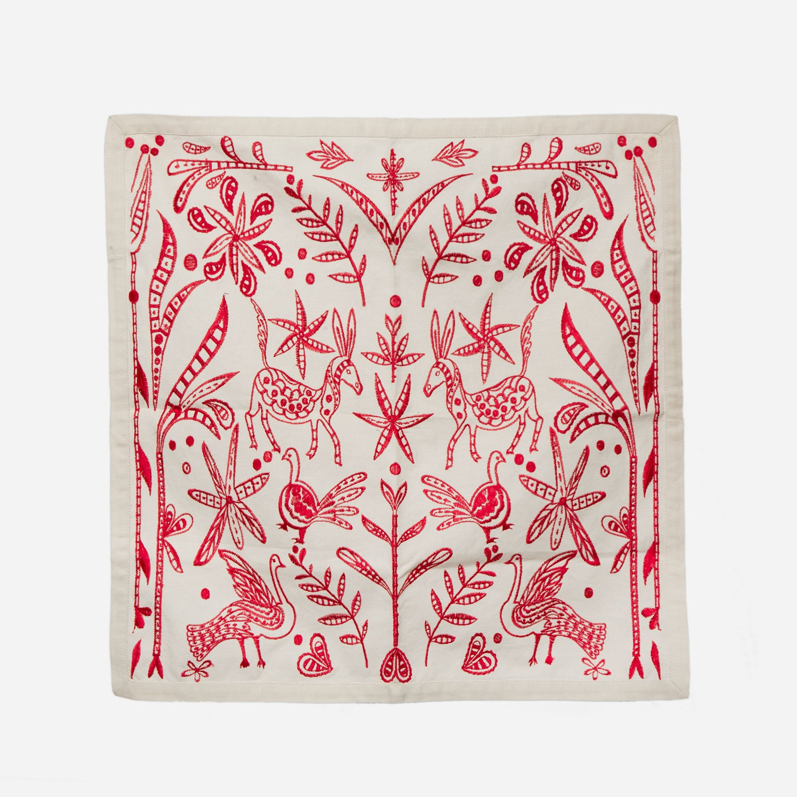 Veracruz Embroidered Napkin Set Red
