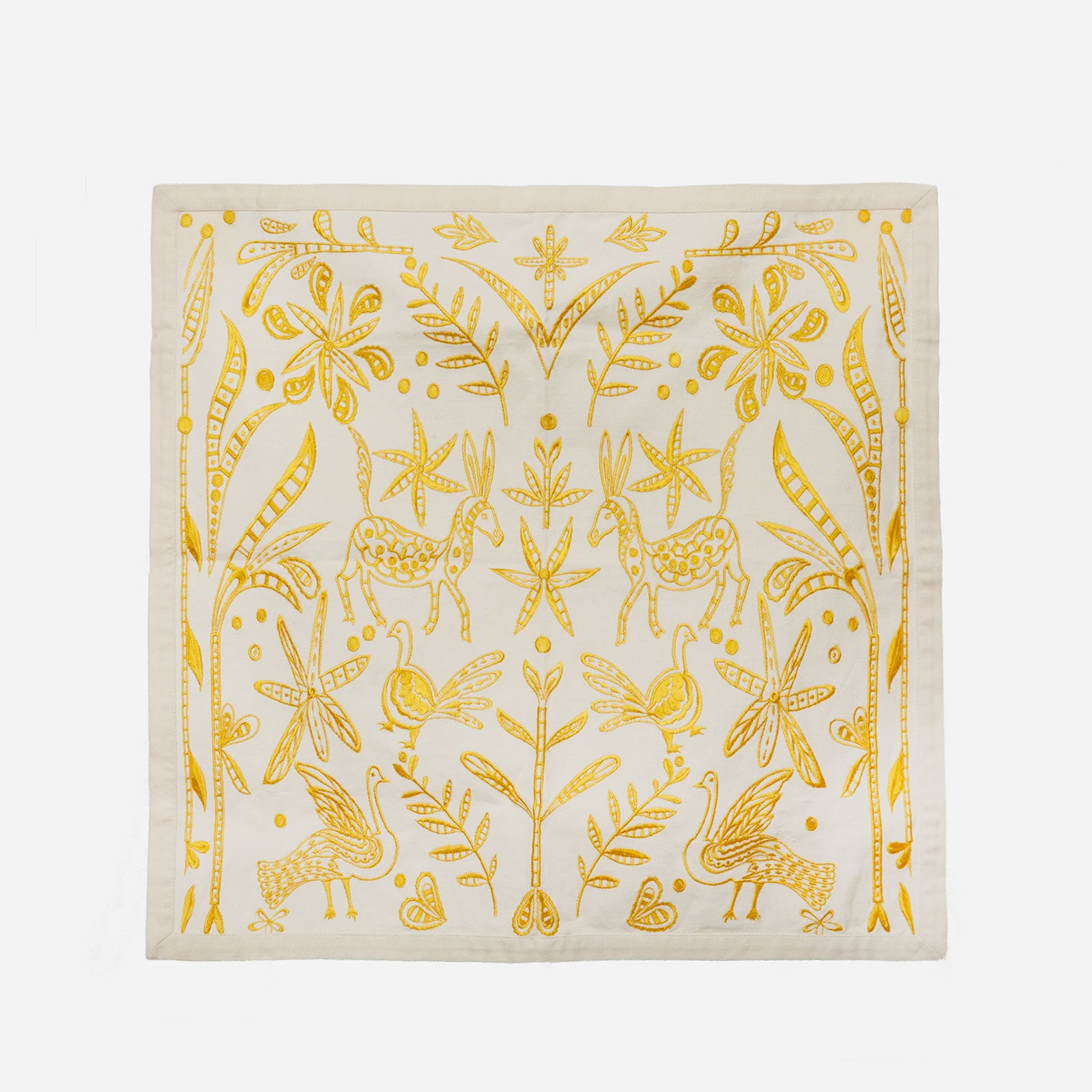 Veracruz Embroidered Napkin Set Yellow