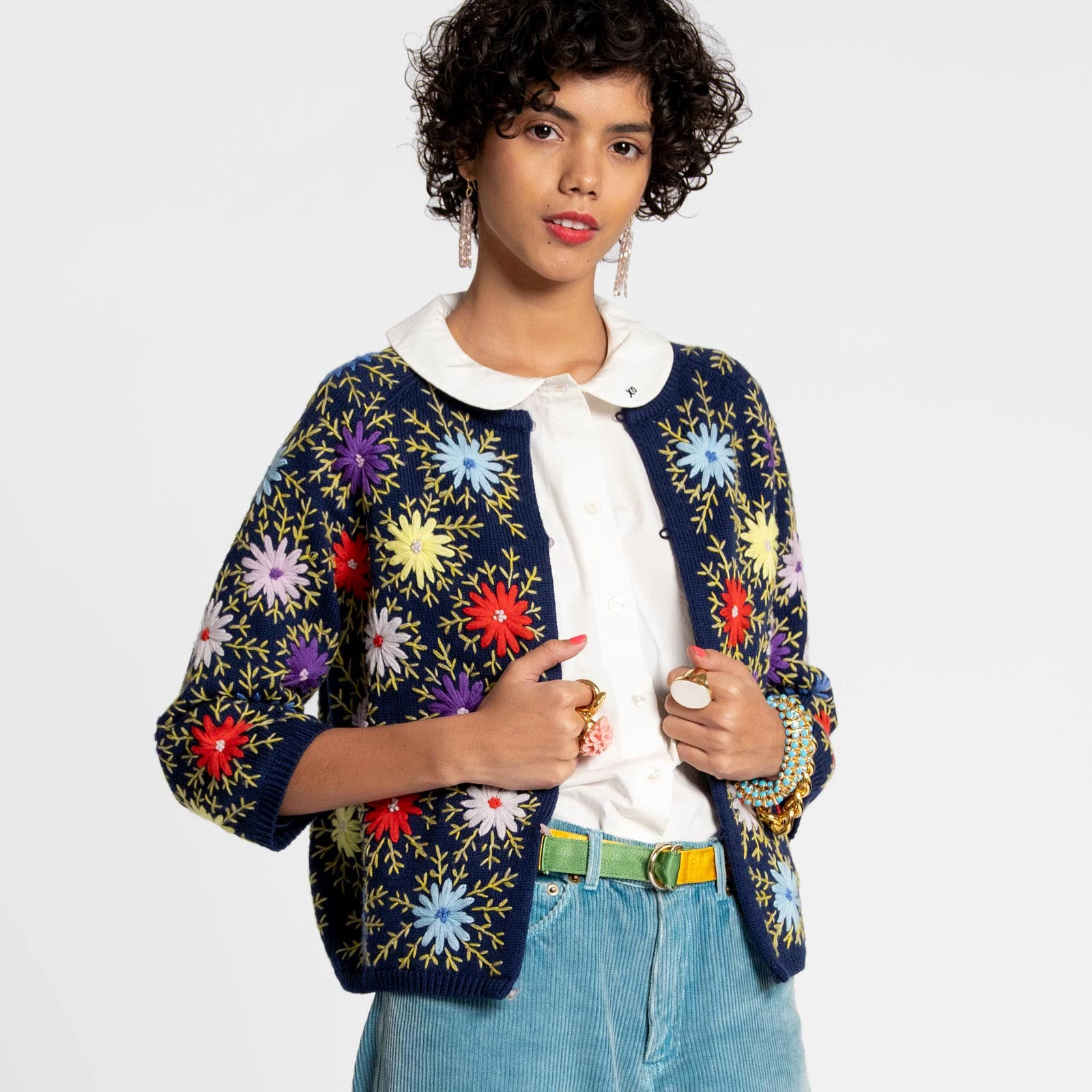 Flower Cardi Coat Navy - Frances Valentine