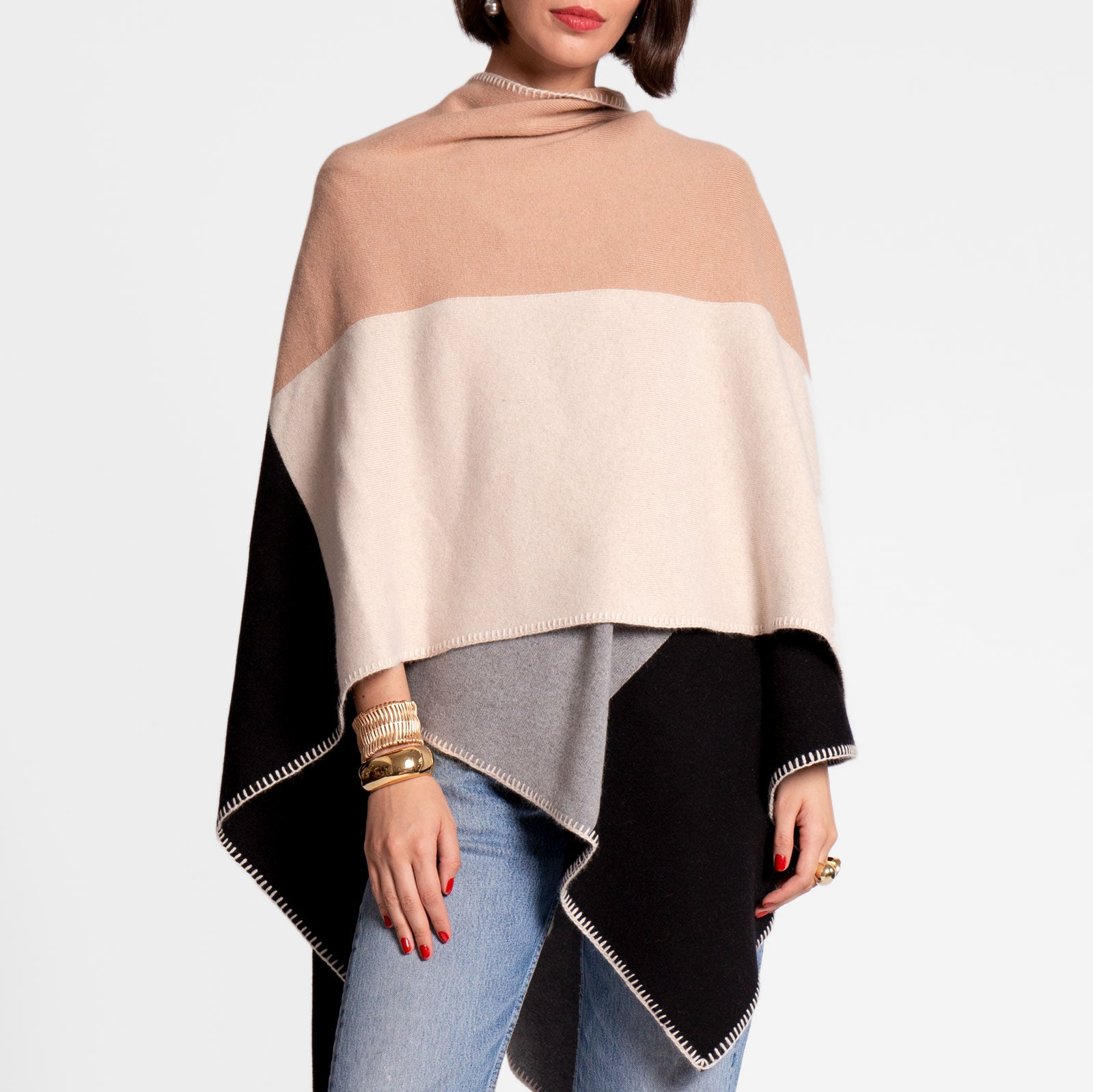 Classic Colorblock Wrap Natural - Frances Valentine