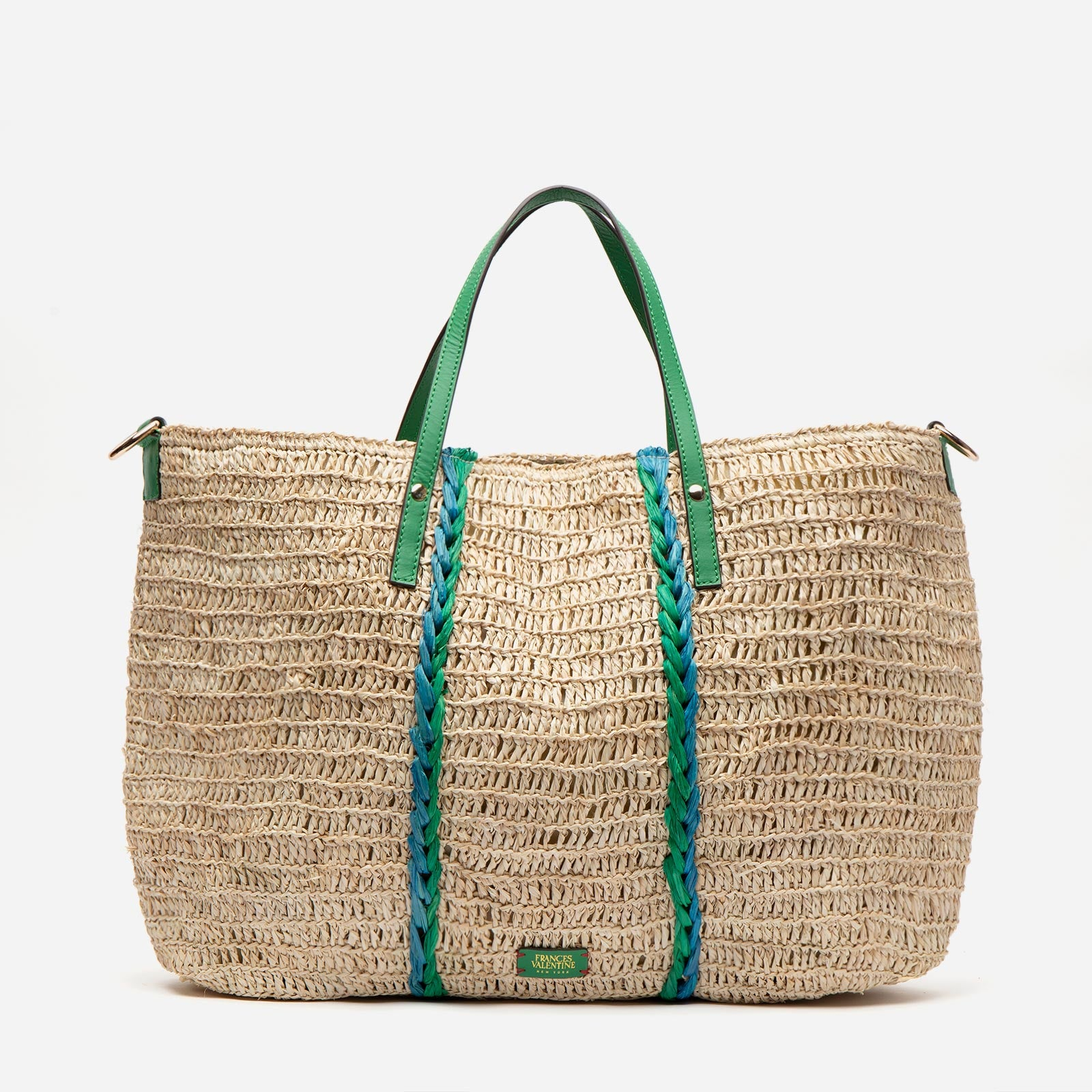 Raffia Carryall Tote Green Blue