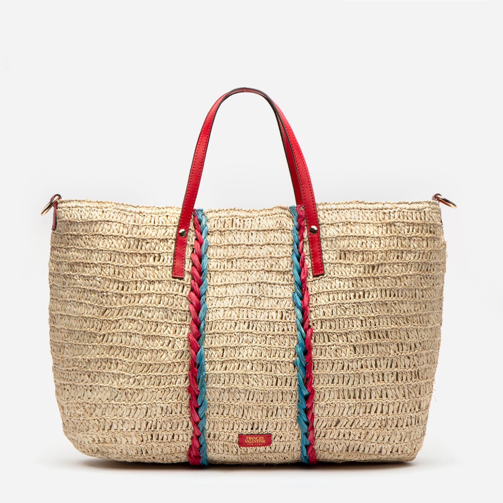Raffia Carryall Tote Red Blue - Frances Valentine